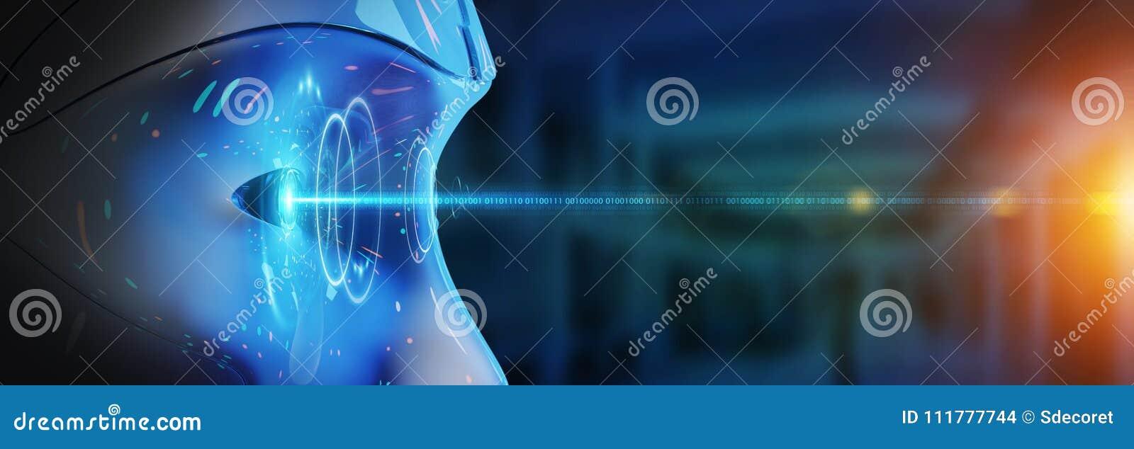 Testa del cyborg facendo uso di intelligenza artificiale creare inte digitale