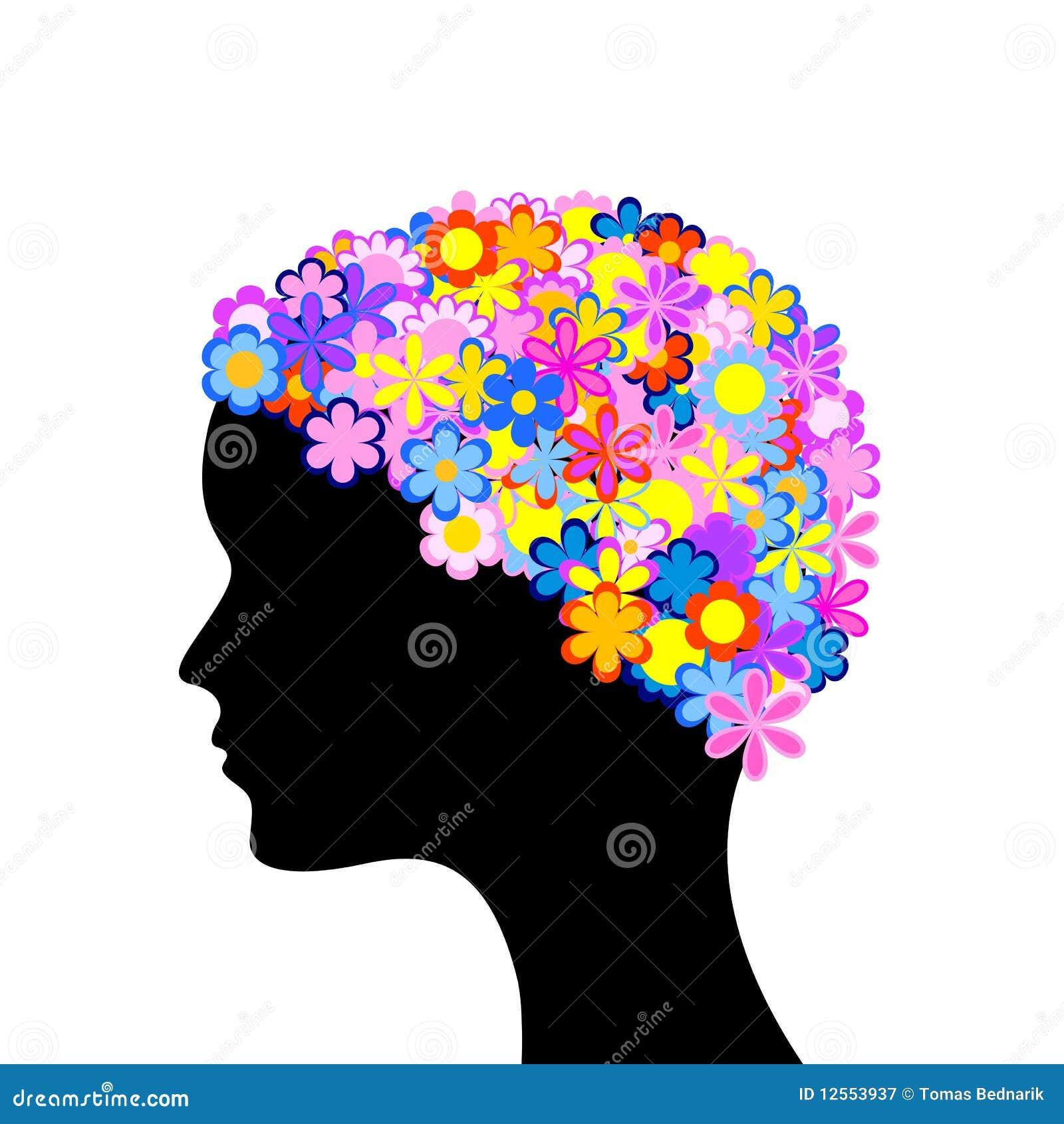 Testa della donna con i fiori