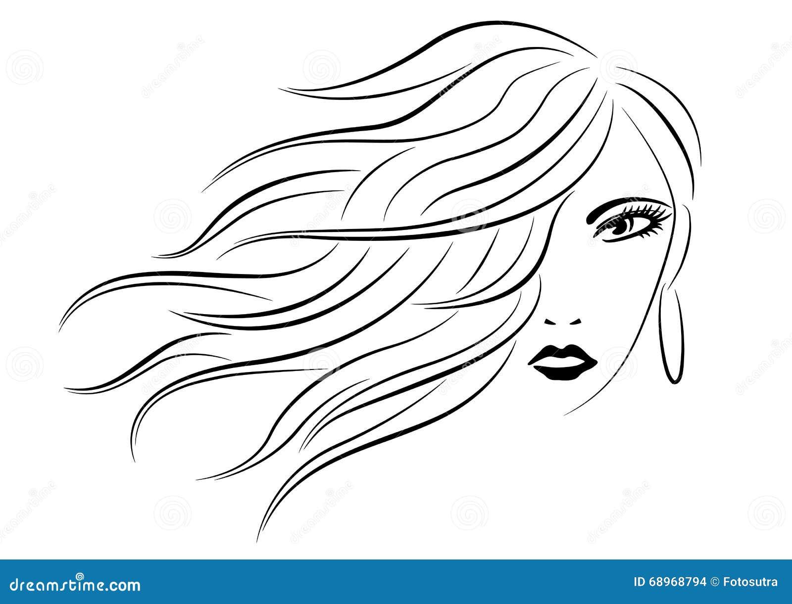 Drawing Hairlines : Testa della donna con la linea siluetta dei capelli