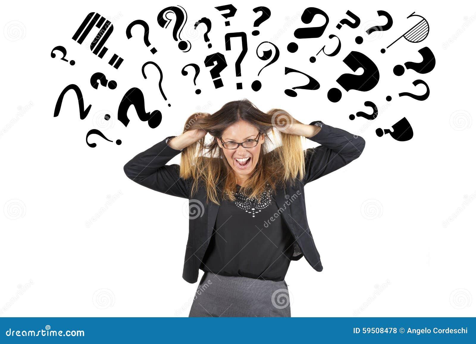 Testa di cui sopra sollecitata dei punti interrogativi della donna di affari Trazione dei capelli