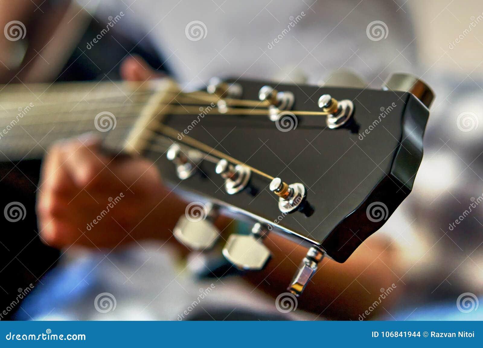 Testa e corde di fretboard della chitarra acustica
