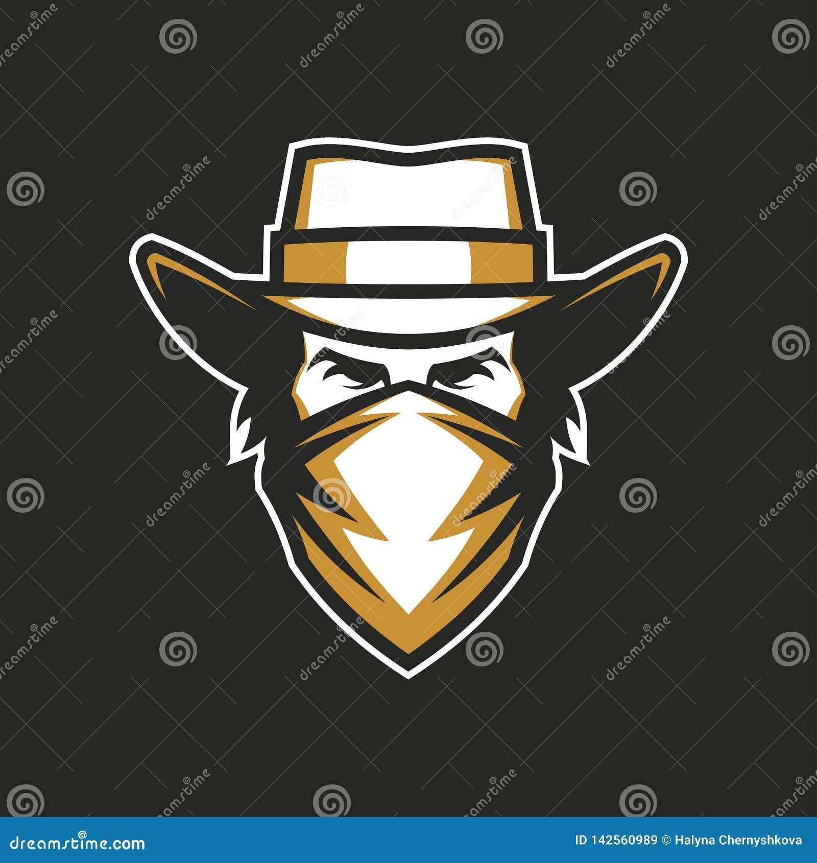 Testa maschio in cappello da cowboy ed in bandana