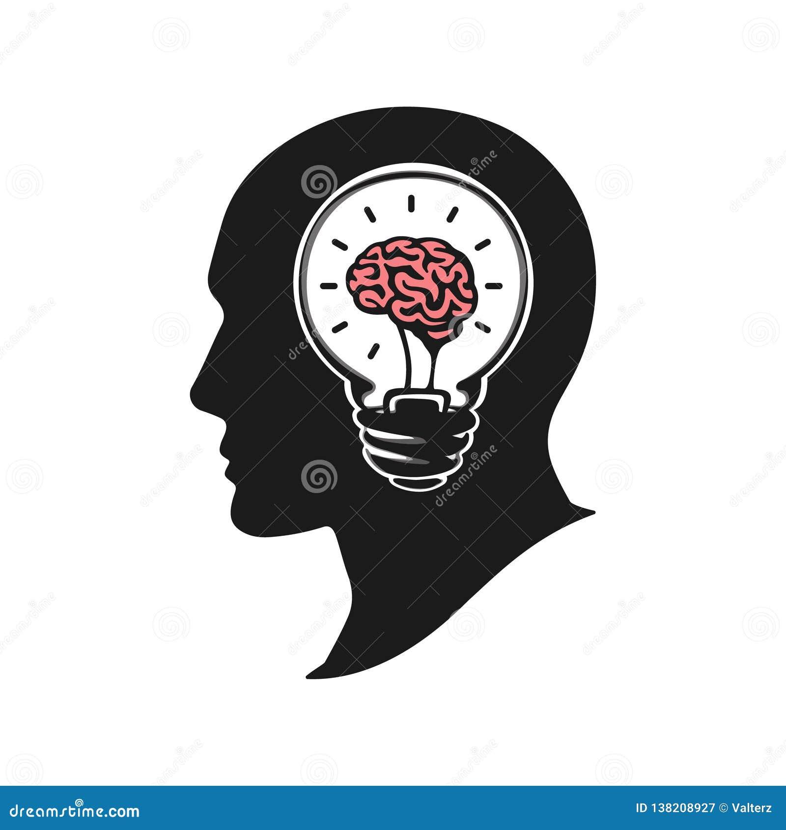 Testa umana che crea una nuova illustrazione di vettore di idea Testa umana con il cervello Testa umana della siluetta con la lam
