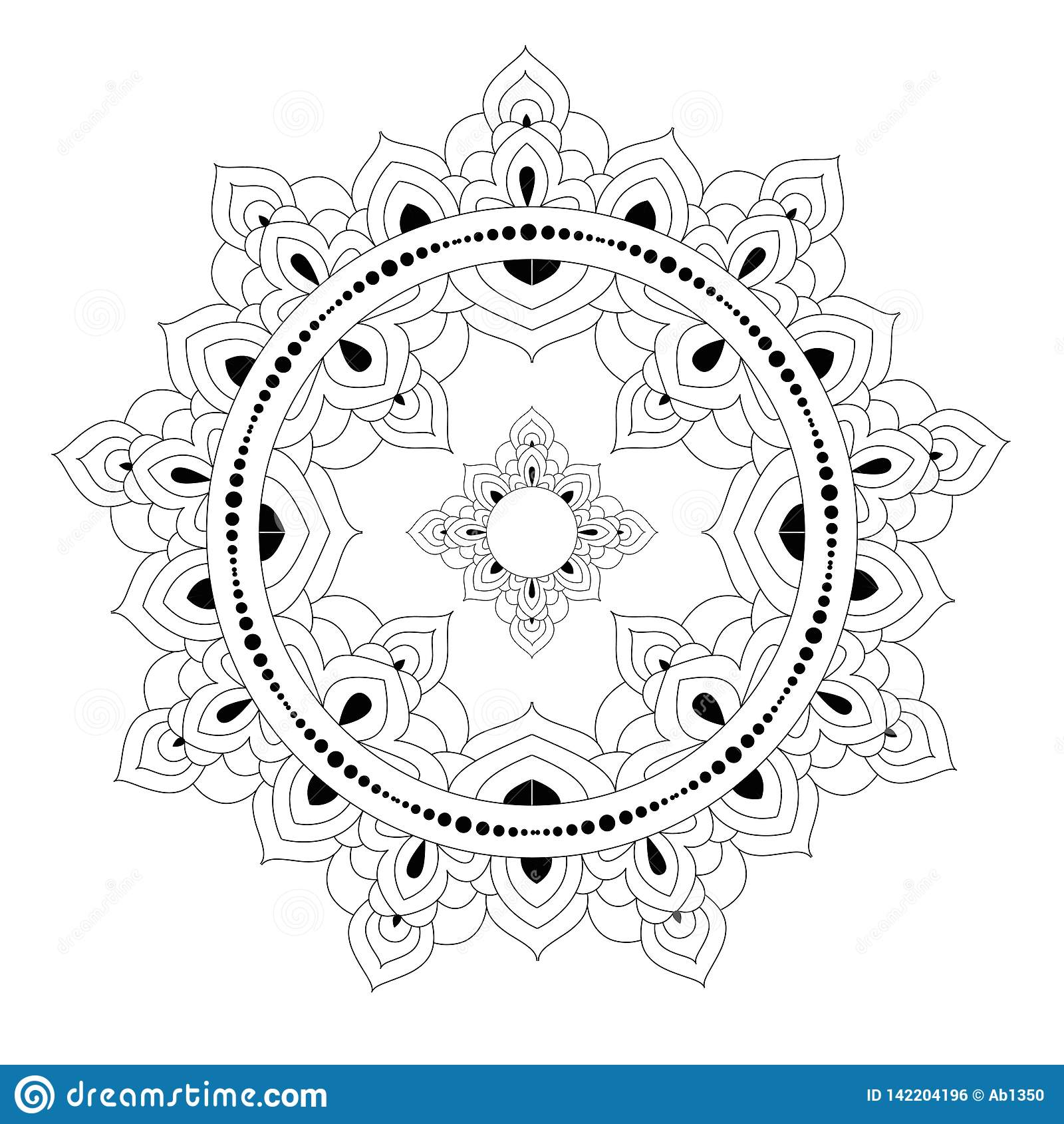 Teste padrão étnico decorativo da mandala página do livro para colorir do Anti-esforço para adultos Forma incomum da flor Vetor o