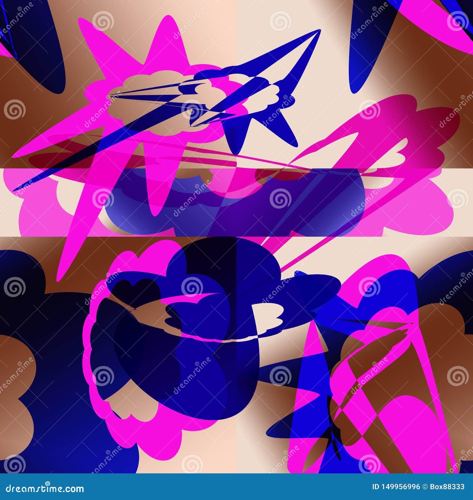 Teste padrão abstrato com elementos azuis e cor-de-rosa