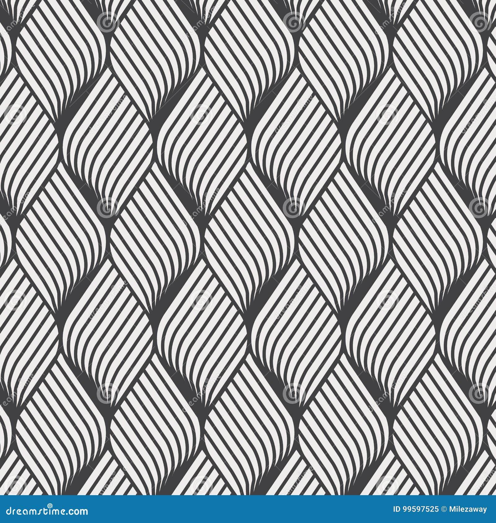 Teste padrão abstrato da ondinha da flor Repetindo a textura do vetor Fundo gráfico ondulado Ondas geométricas simples