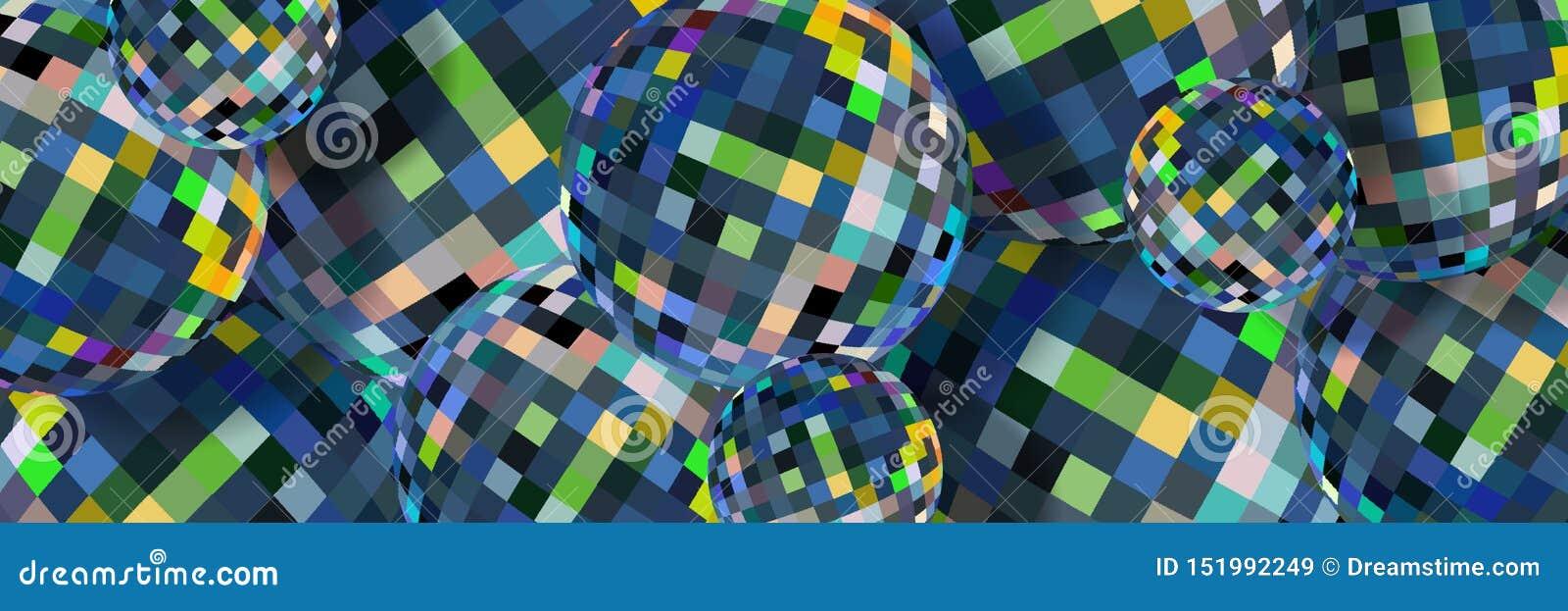 Teste padrão abstrato das esferas de cristal azuis Fundo criativo das bolas de vidro 3d