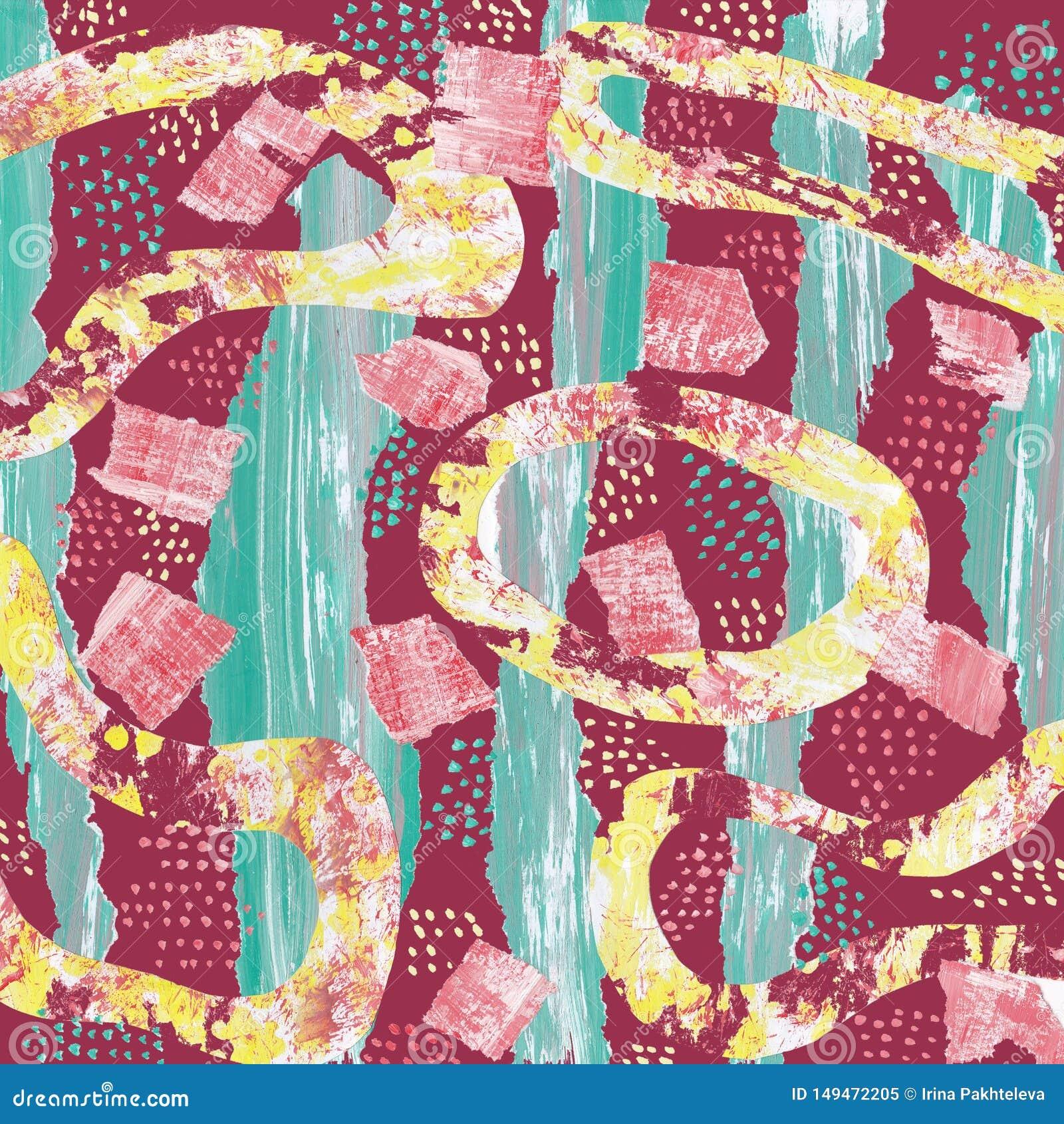 Teste padr?o abstrato no fundo de Borgonha com colagem de listras verdes e de formas amarelas