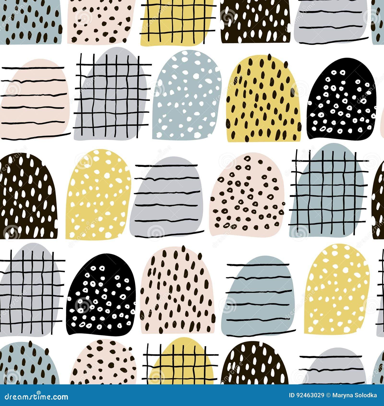 Teste padrão abstrato sem emenda com elementos tirados mão Textura na moda do vetor