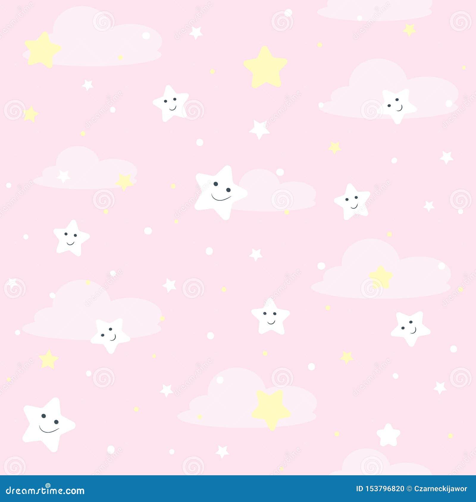 Teste padrão agradável dos seamles para crianças Ilustração do vetor com estrelas e nuvens