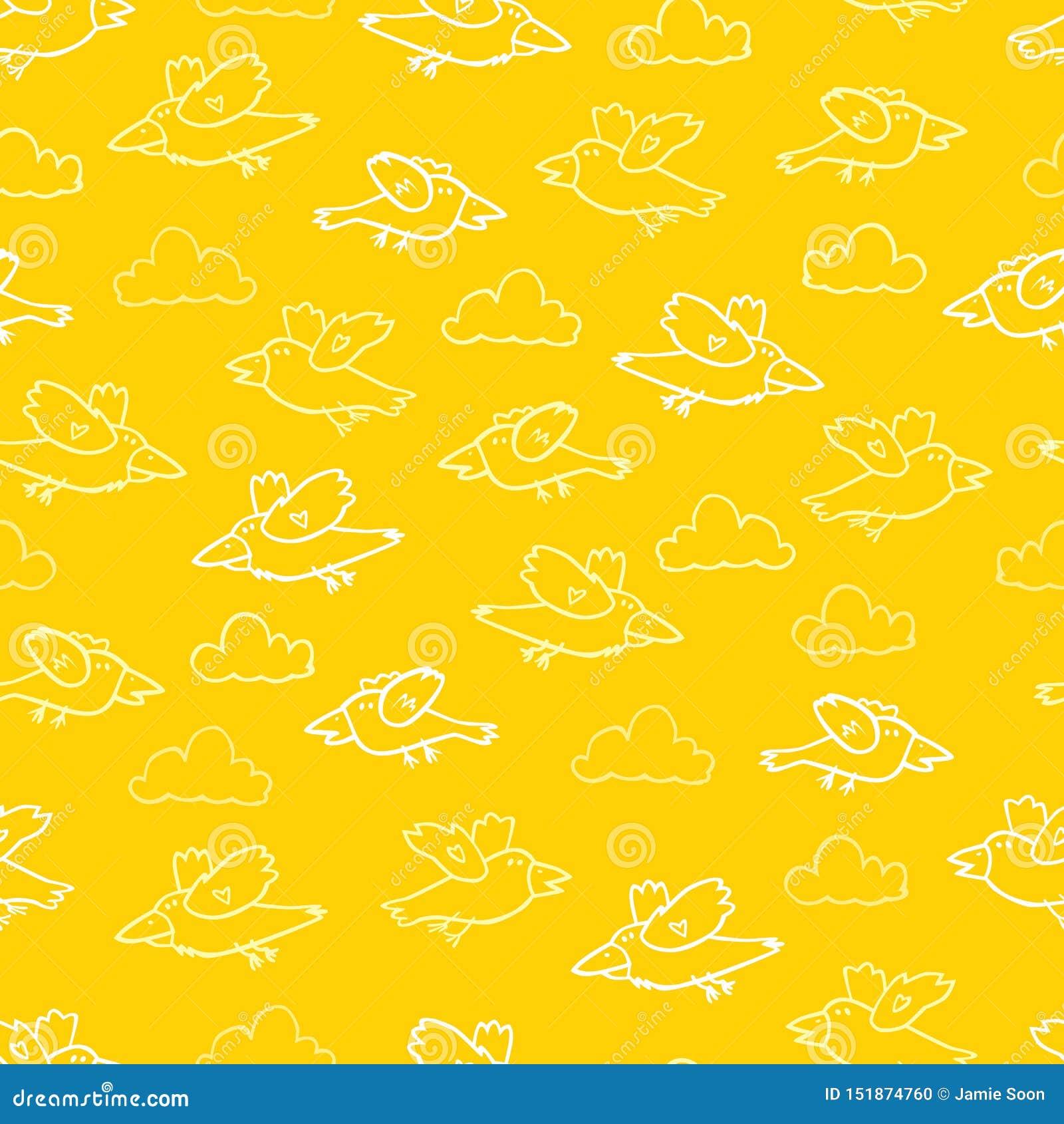 Teste padrão amarelo da repetição dos pássaros dos desenhos animados do vetor Apropriado para o papel de embrulho, a matéria têxt