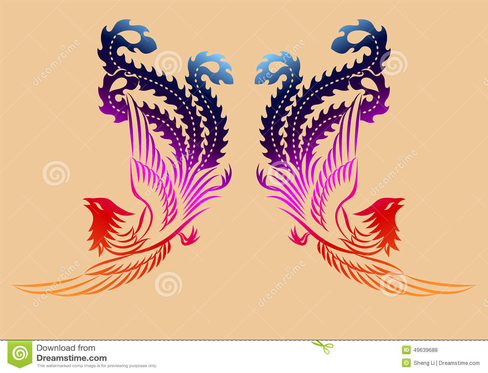 Teste padrão antigo chinês de phoenix