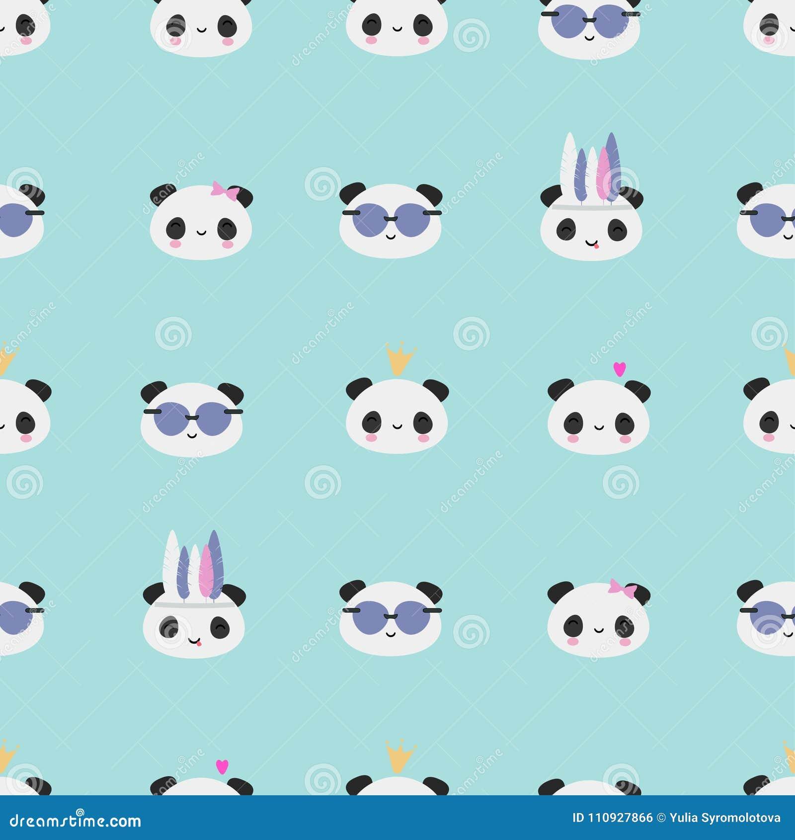 Teste Padrão Asiático Do Urso De Panda De Kawaii Na Hortelã