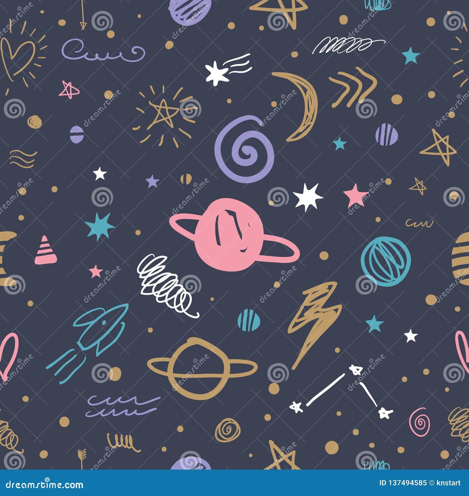 Teste Padrao Bonito Da Galaxia Do Espaco Dos Desenhos Animados Do