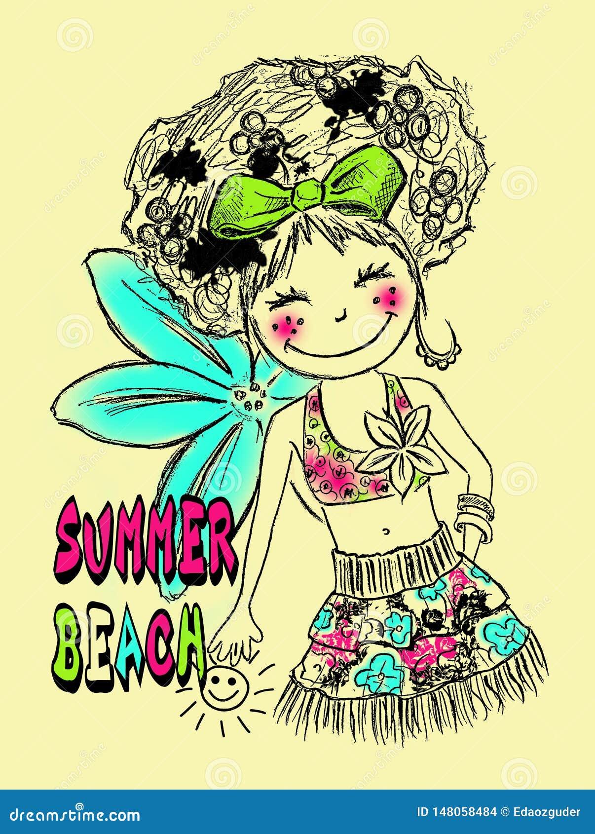 Teste padrão bonito da menina, cópia temático do verão