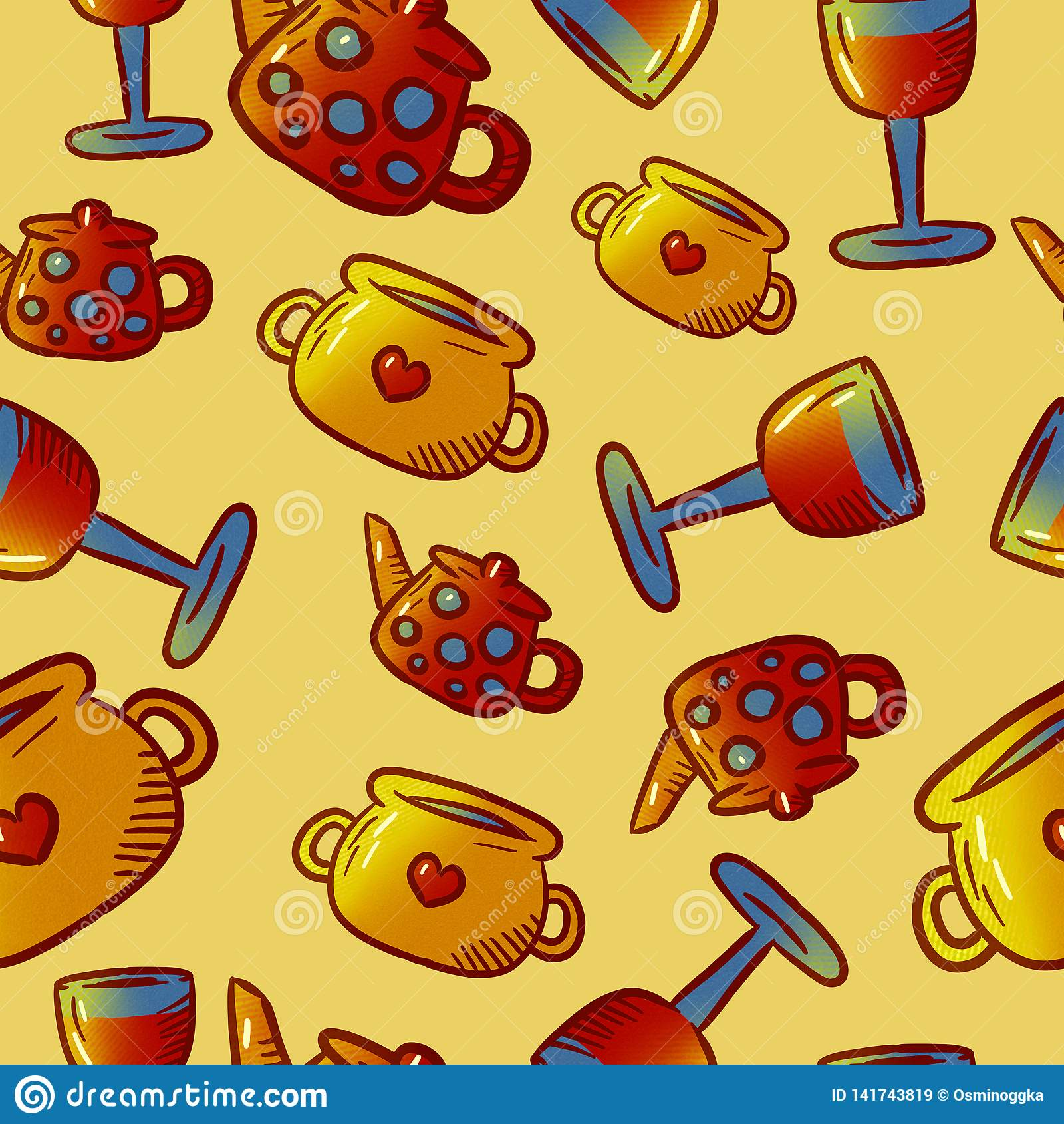 Teste padrão bonito de ilustrações do kitchenware e dos utensílios Elementos para o desig