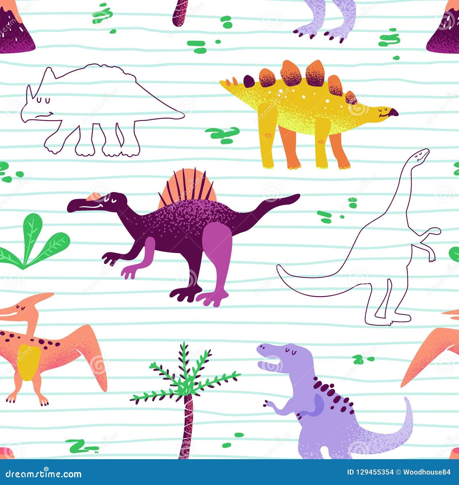 Teste padrão bonito sem emenda dos dinossauros dos desenhos animados textura do fundo de Dino do bebê Contexto para a matéria têx