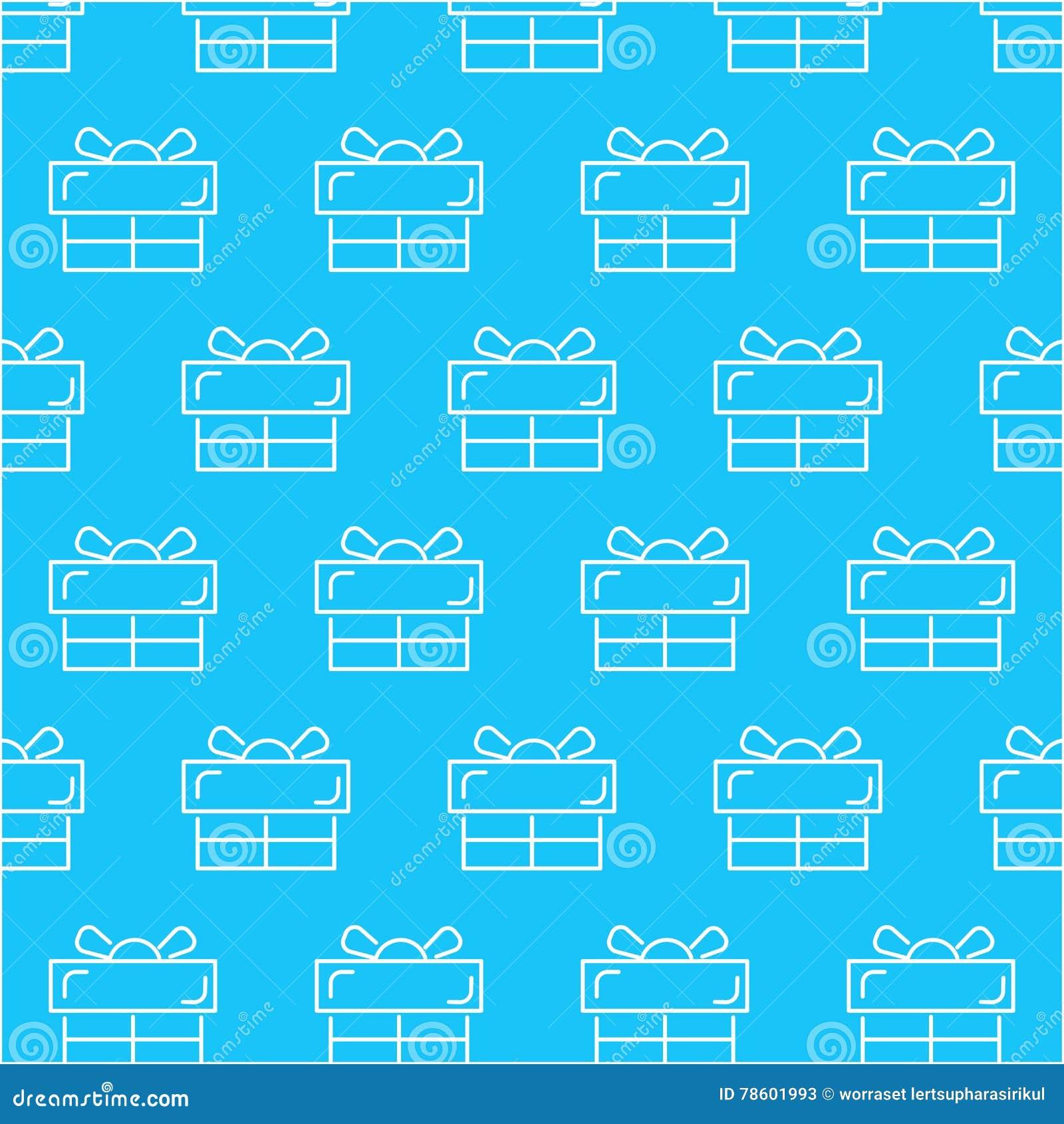 Teste padrão branco sem emenda do sumário da caixa de presente com fundo azul, vetor, espaço da cópia para o texto, tema pastel,