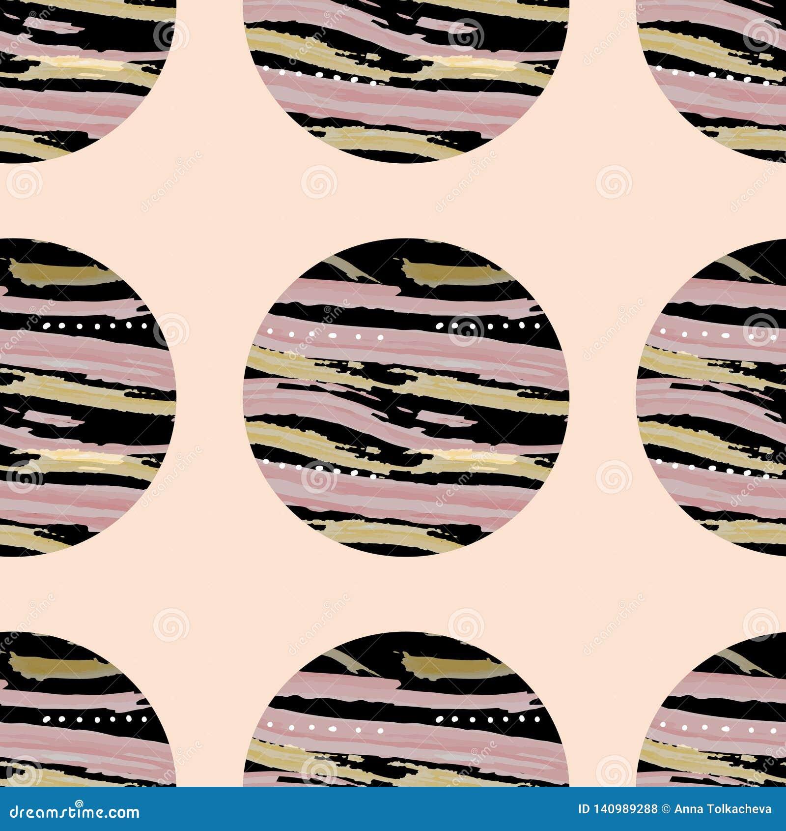 Teste padrão brilhante de círculos pretos com textura no fundo cor-de-rosa EPS10