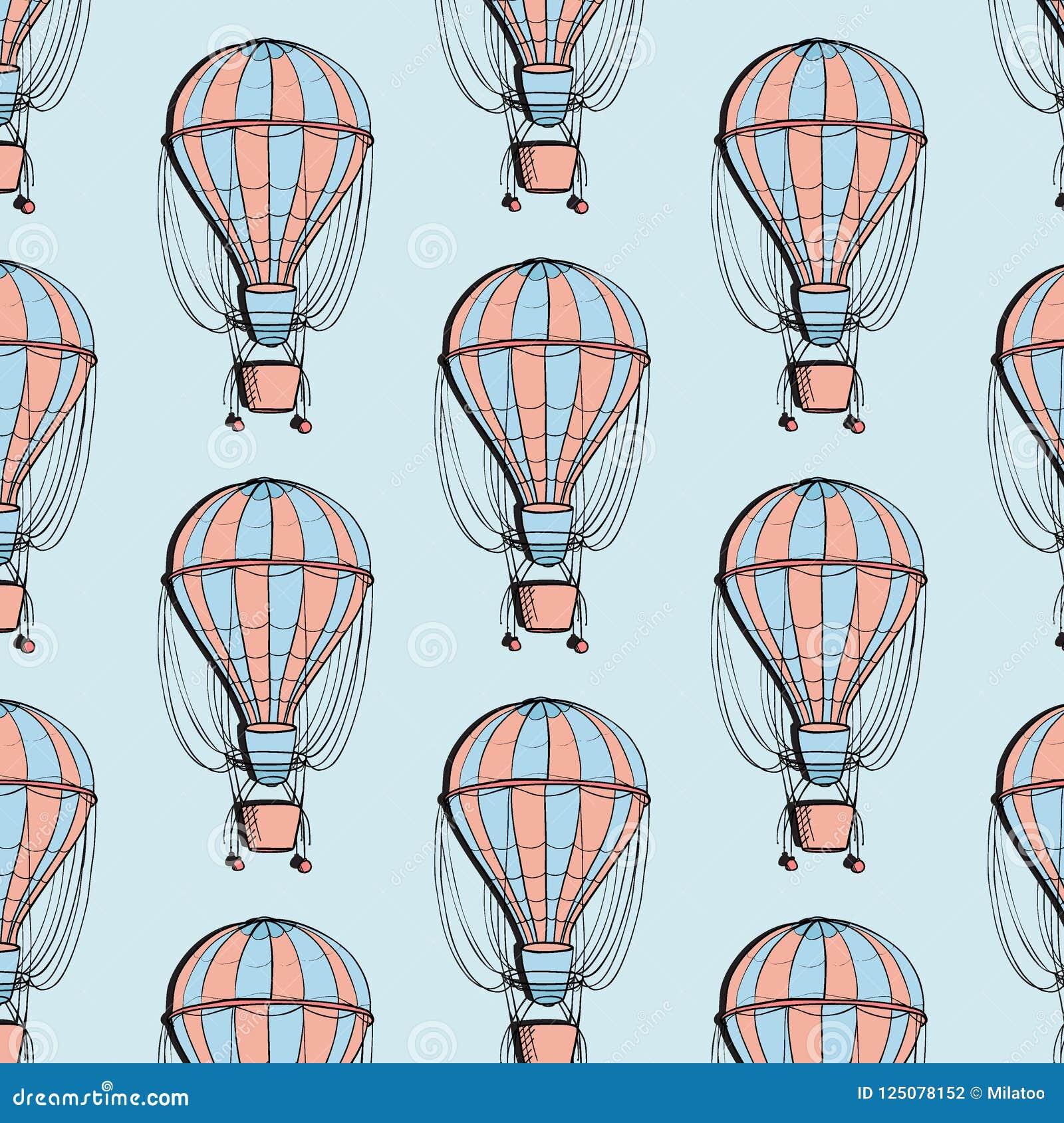 Teste padrão colorido do balão do dirigível Ballon do curso com textura do verão da cesta Decoração do turismo da aventura