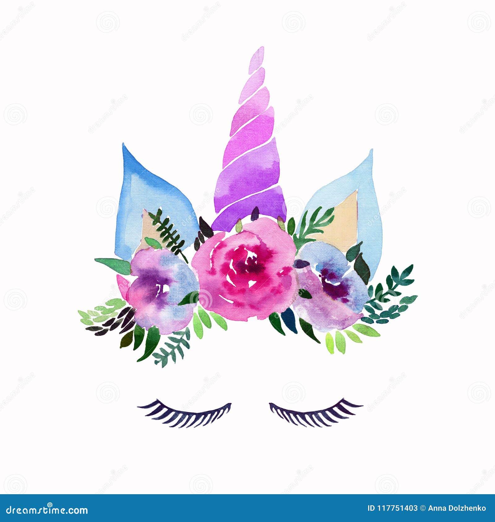 Teste padrão colorido mágico feericamente bonito bonito da mola bonita brilhante dos unicórnios com as pestanas na coroa macia fl