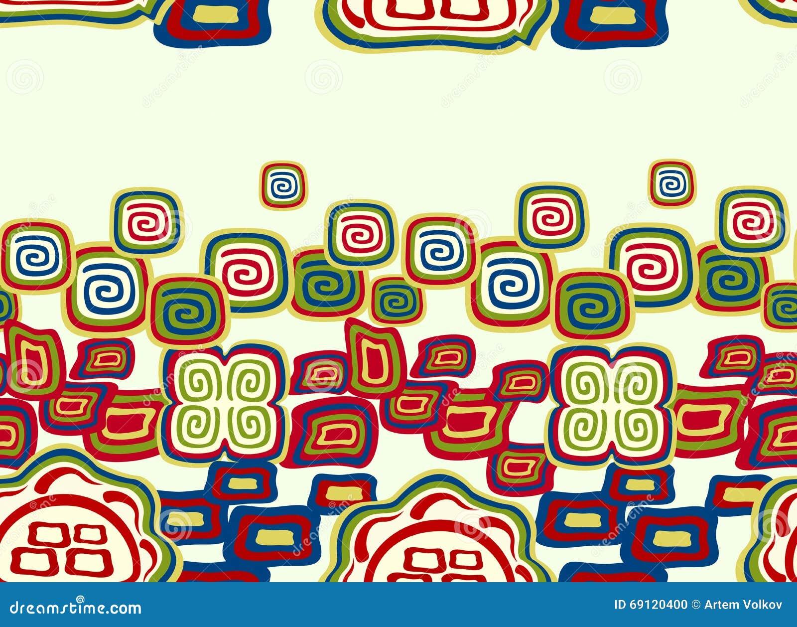 Teste padrão colorido sem emenda no estilo indiano com símbolos Ilustração do vetor EPS10