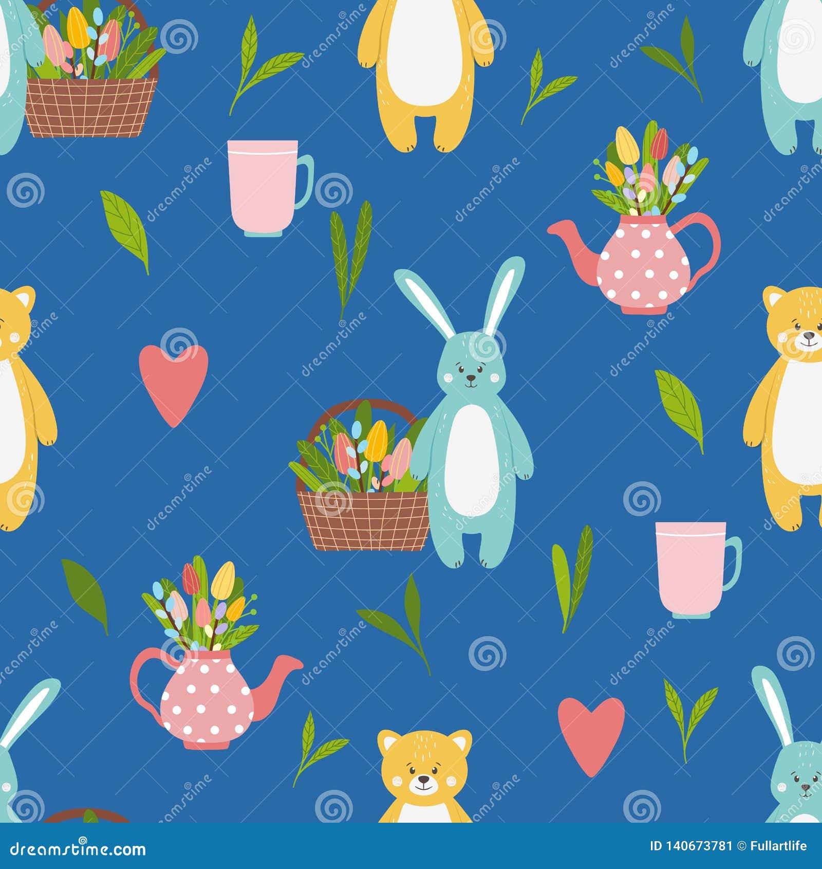 Teste padrão com a lebre azul engraçada bonito e os animais amarelos do urso