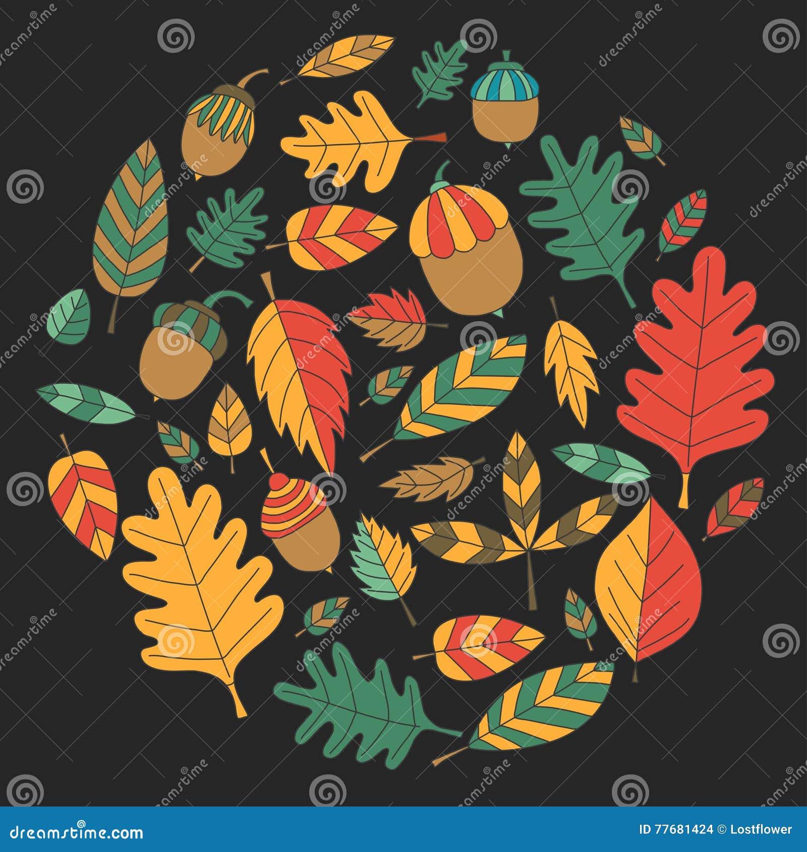Teste padrão com o Linden da bolota de Mapple do carvalho das folhas de outono