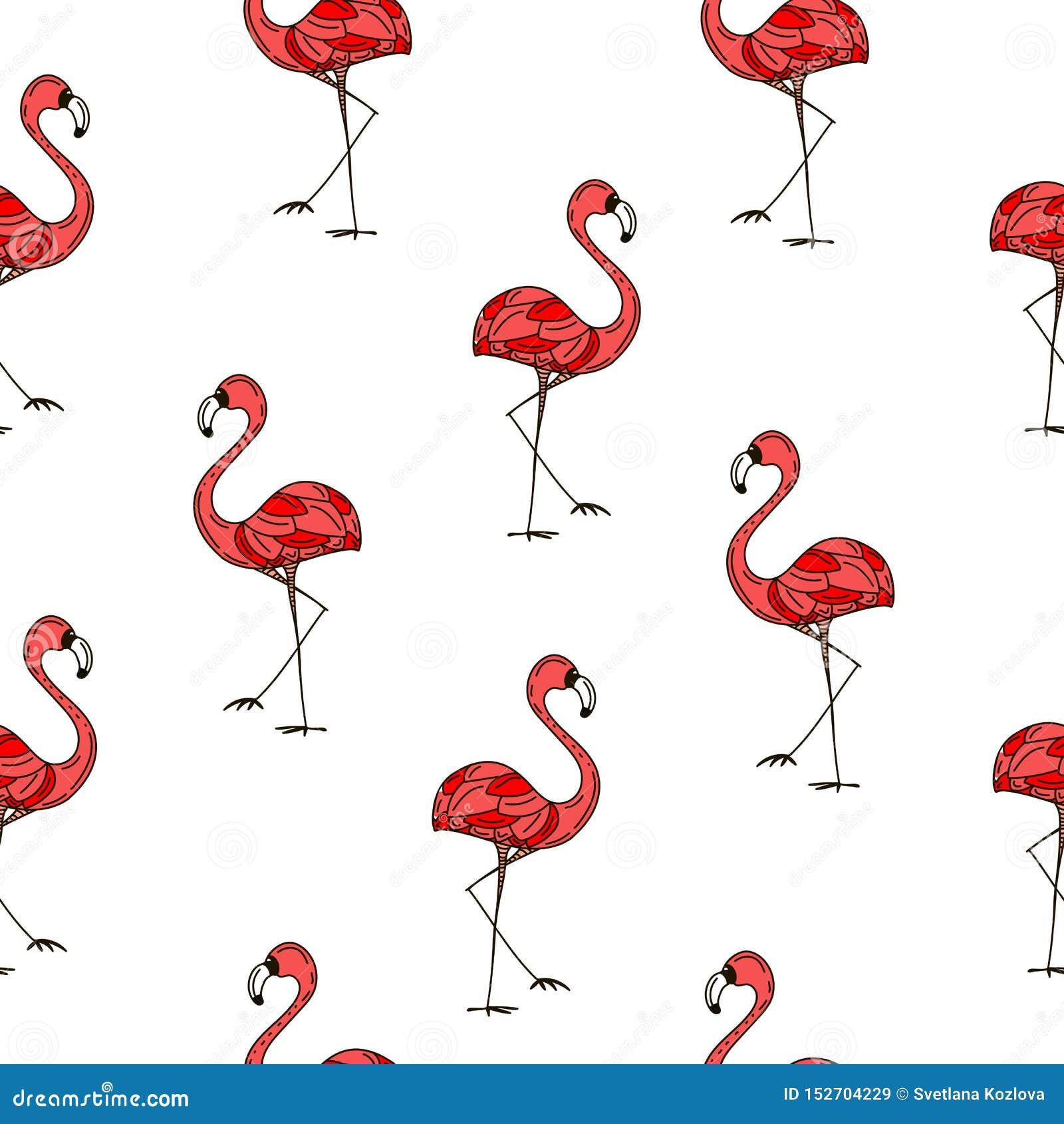 Teste padrão cor-de-rosa do verão dos pássaros dos flamingos Ilustra??o do vetor