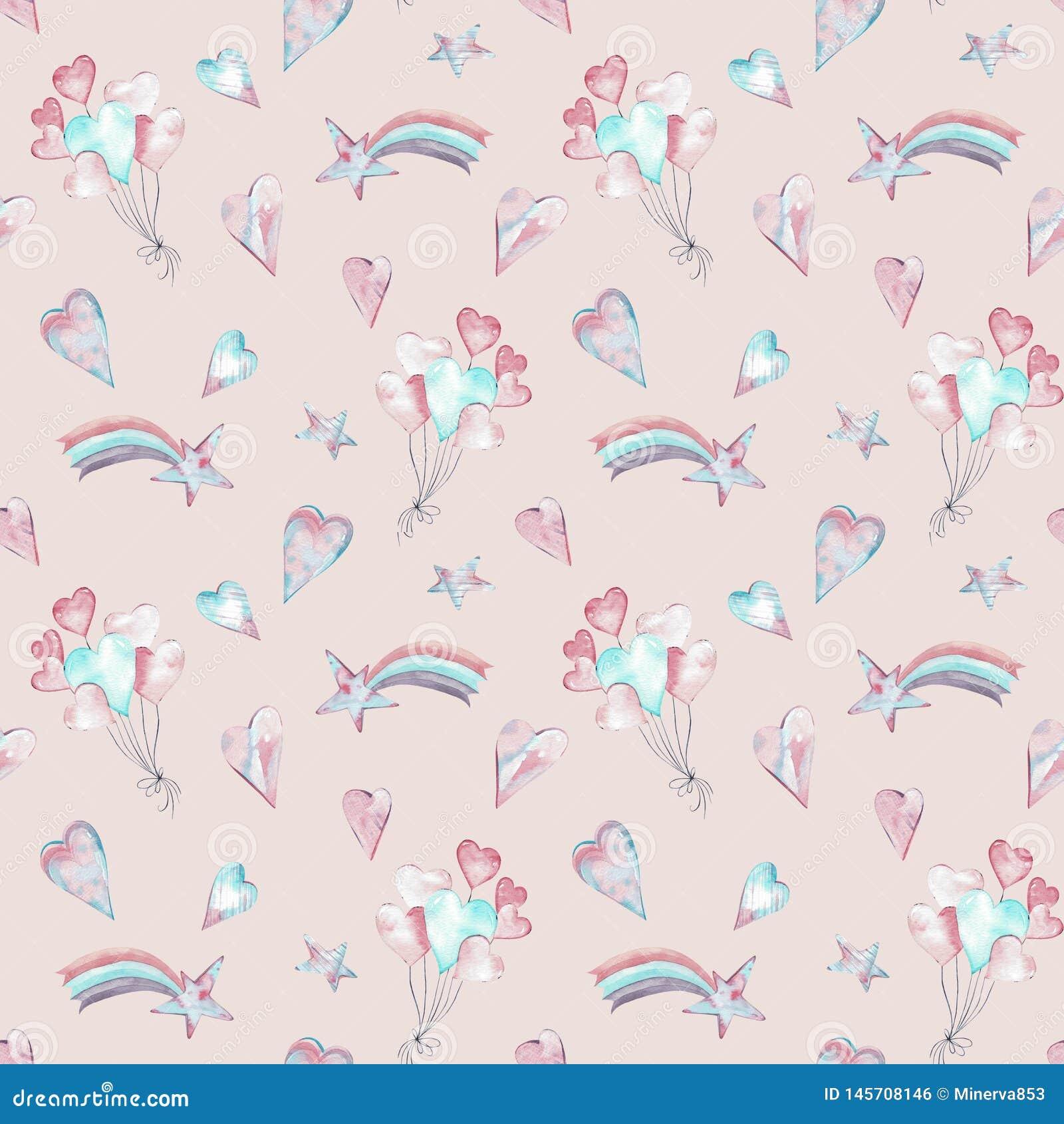 Teste padrão cor-de-rosa de menina bonito sem emenda da aquarela com balões, estrelas, corações e arco-íris