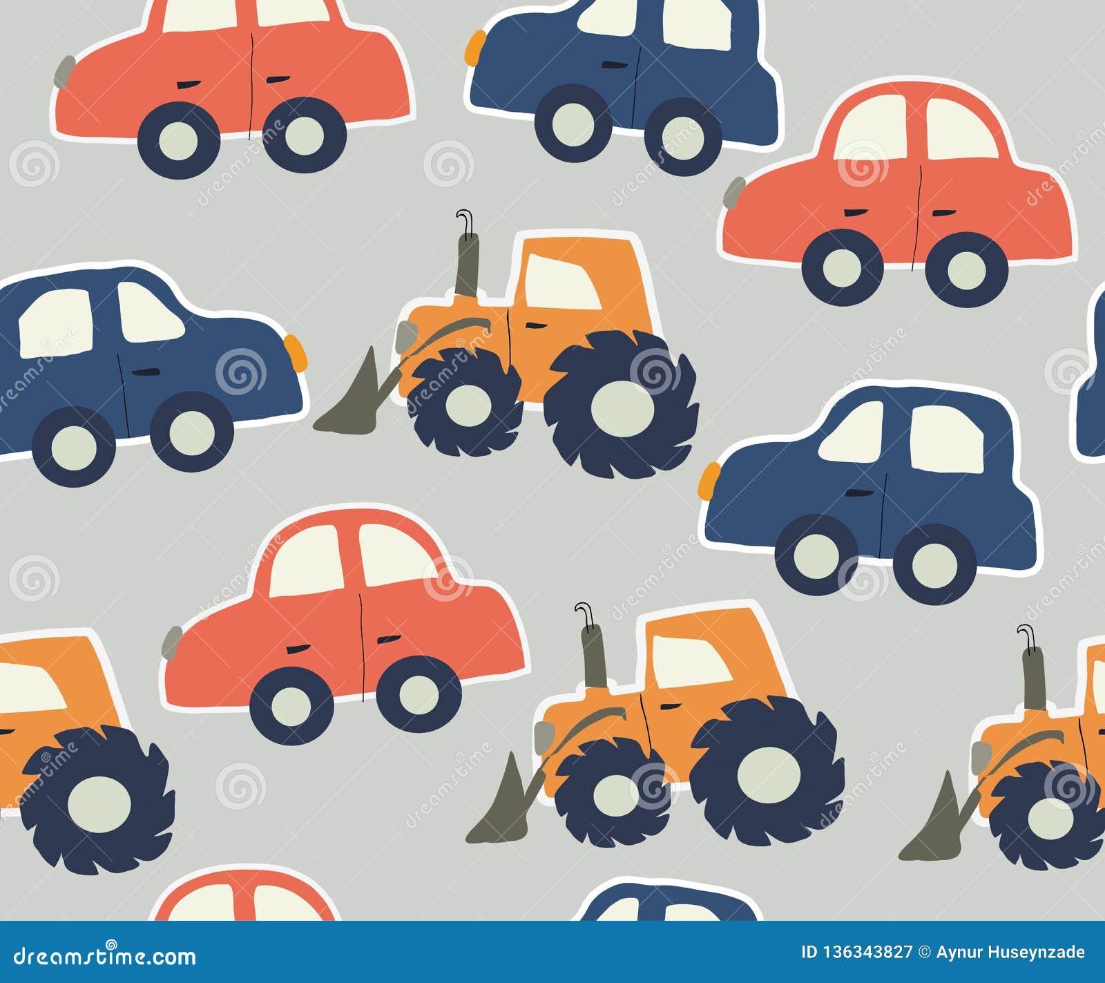 Teste padrão criançola dos seamles com carros e tratores Ilustração do vetor