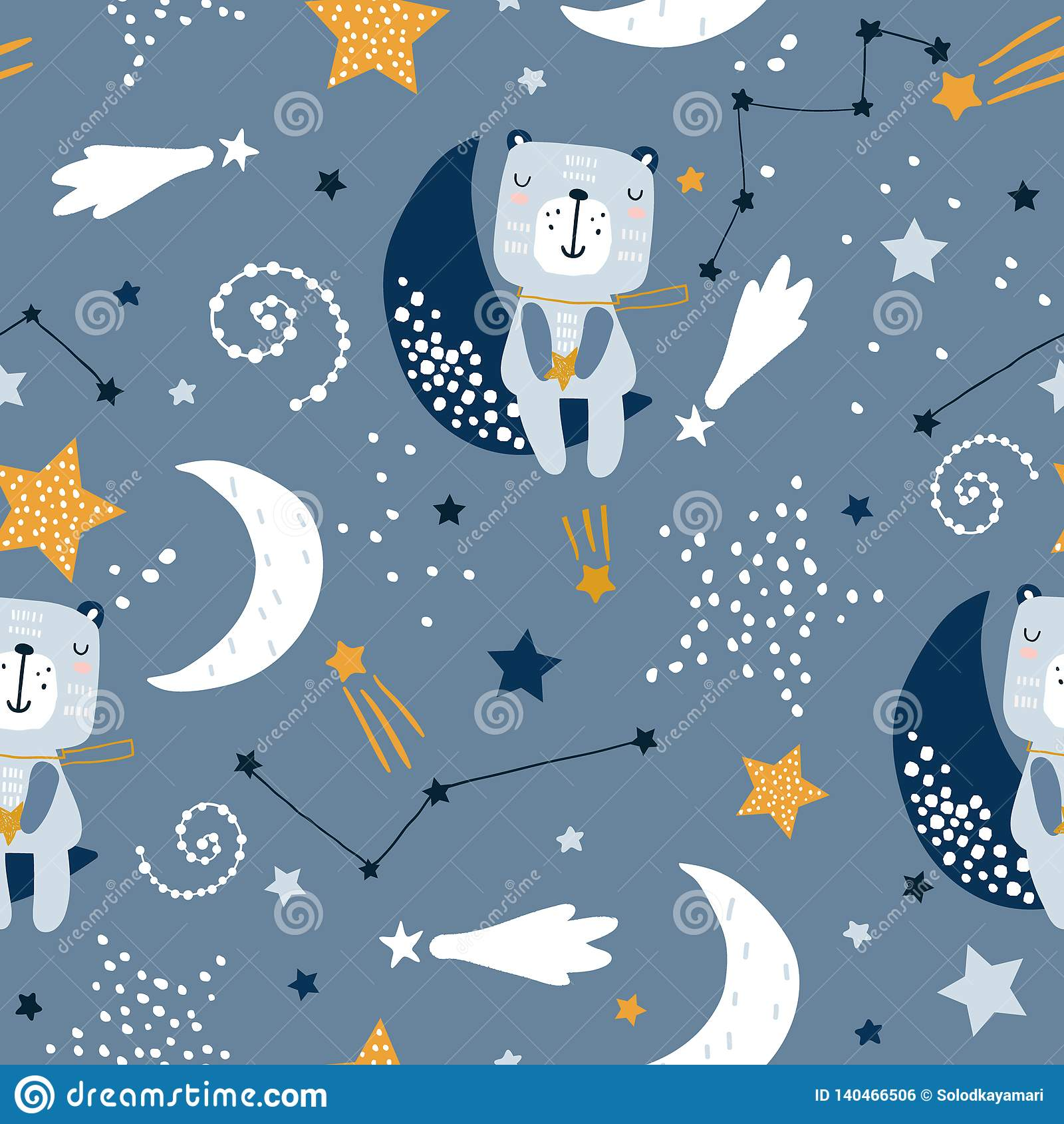 Teste padrão criançola sem emenda com os ursos bonitos em nuvens, lua, estrelas Textura escandinava criativa das crianças do esti