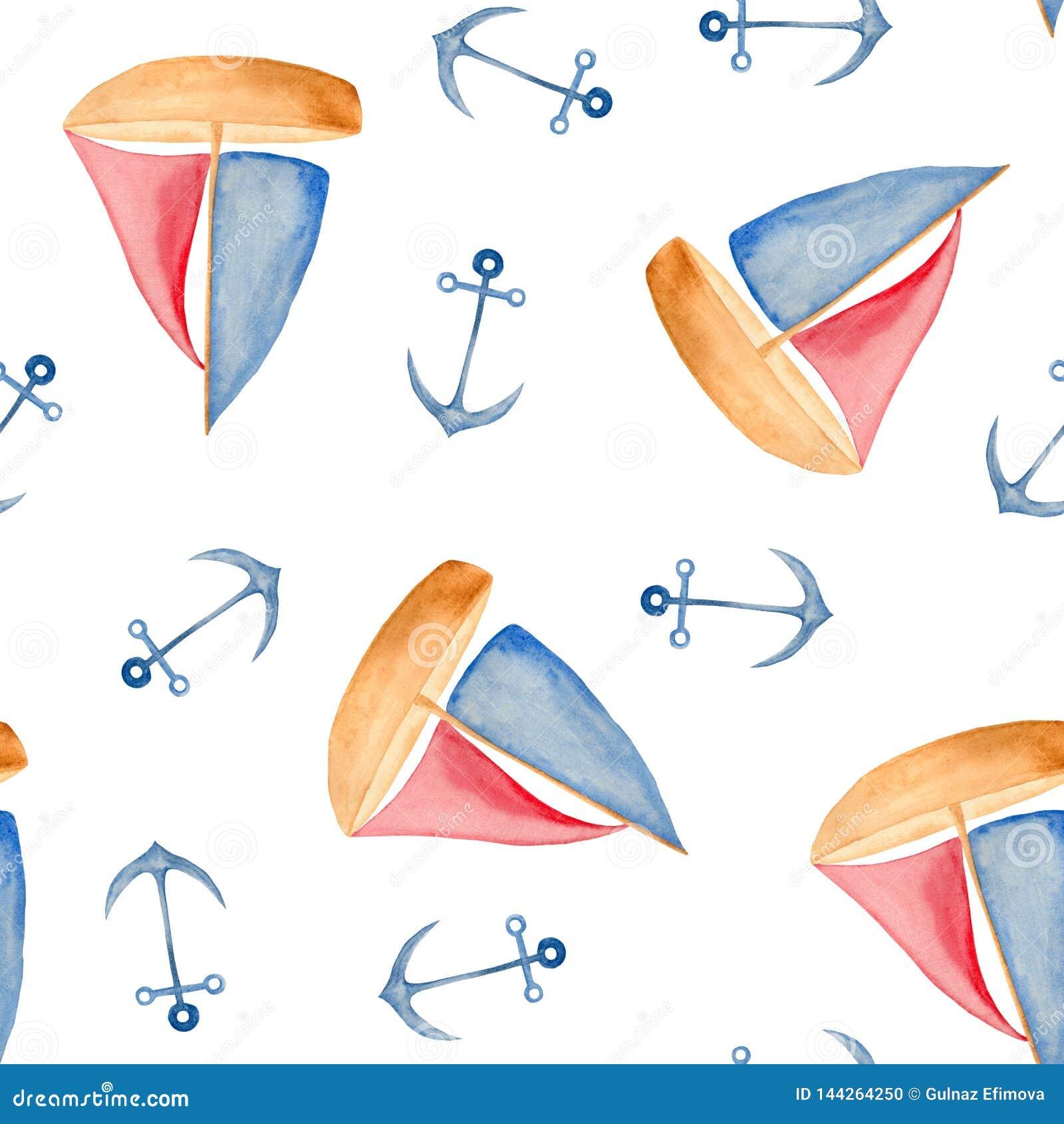 Teste padrão da aquarela com elementos vermelho-azuis do mar