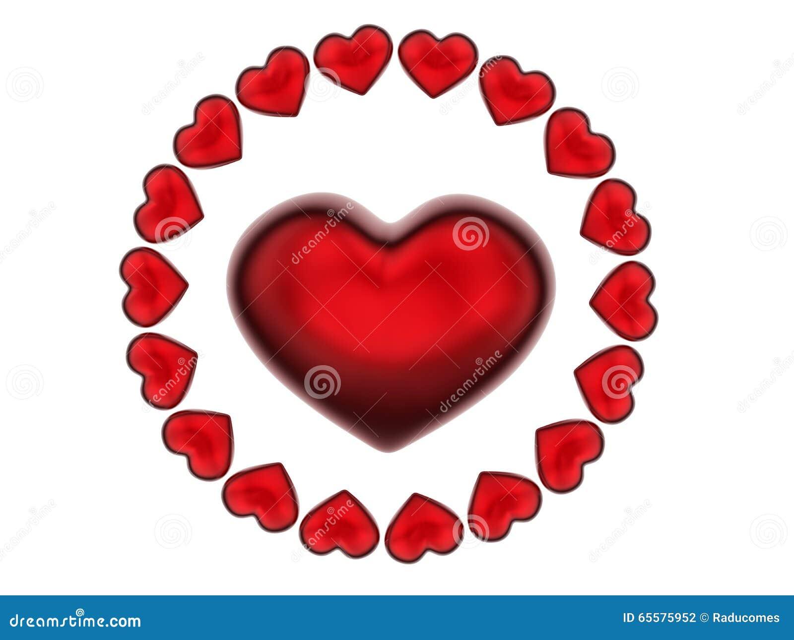 Teste padrão da circular dos corações 3D