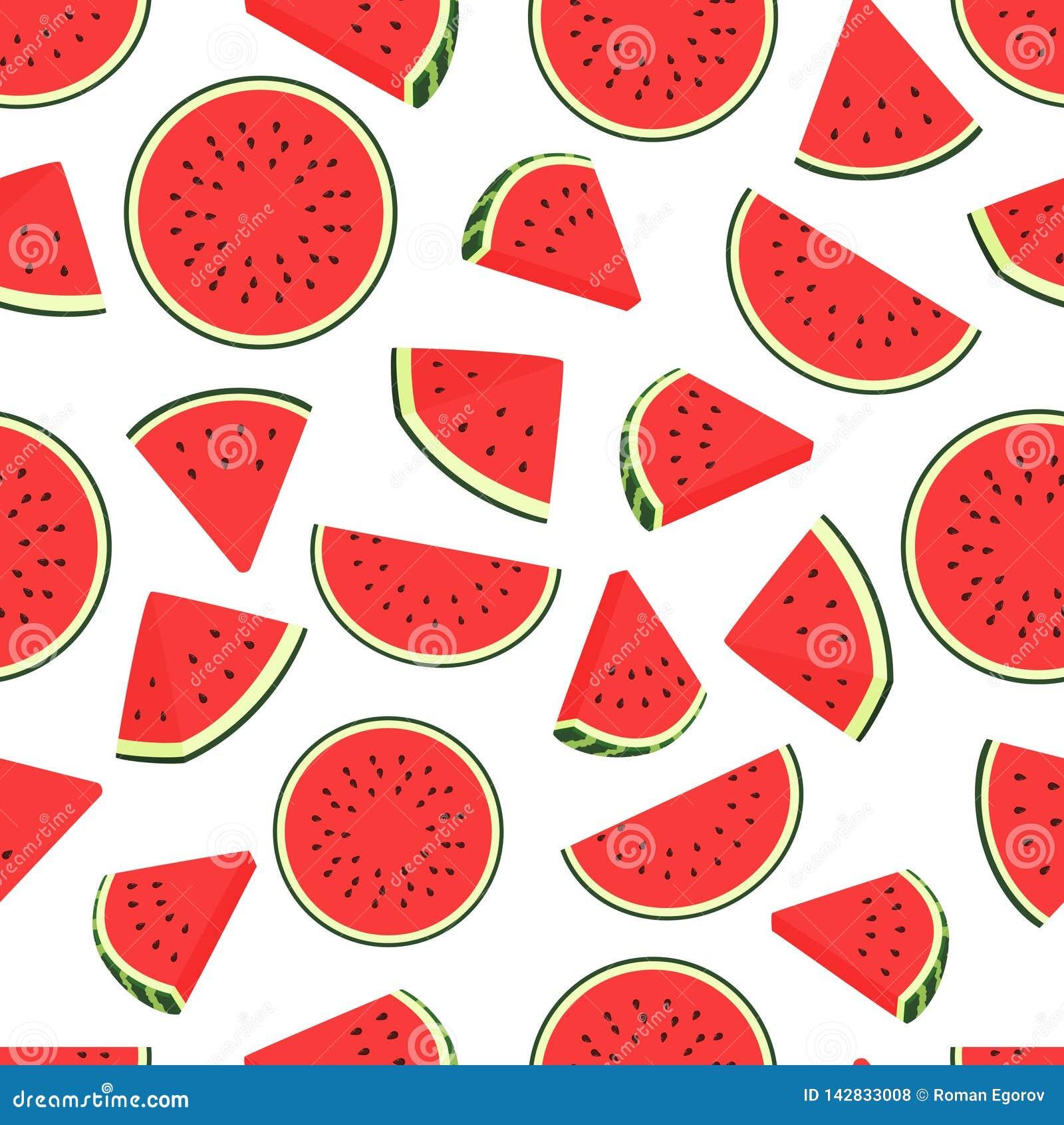 Teste padrão da melancia da parte Teste padrão transparente das melancias sem emenda Fundo do vetor com fatias da melancia