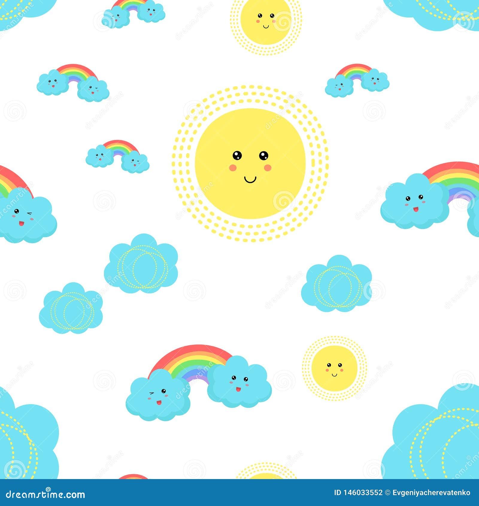 Teste padrão das crianças do vetor com nuvens bonitos, sol, arcos-íris e estrelas