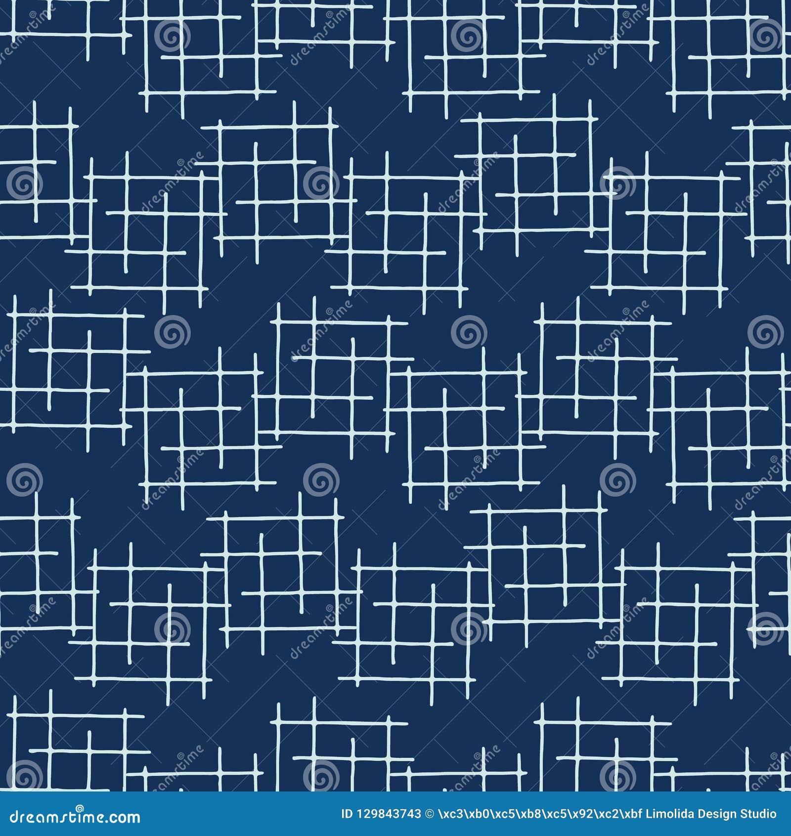 Teste padrão de Criss Cross Lines Seamless Vetora do estilo japonês de azul de índigo