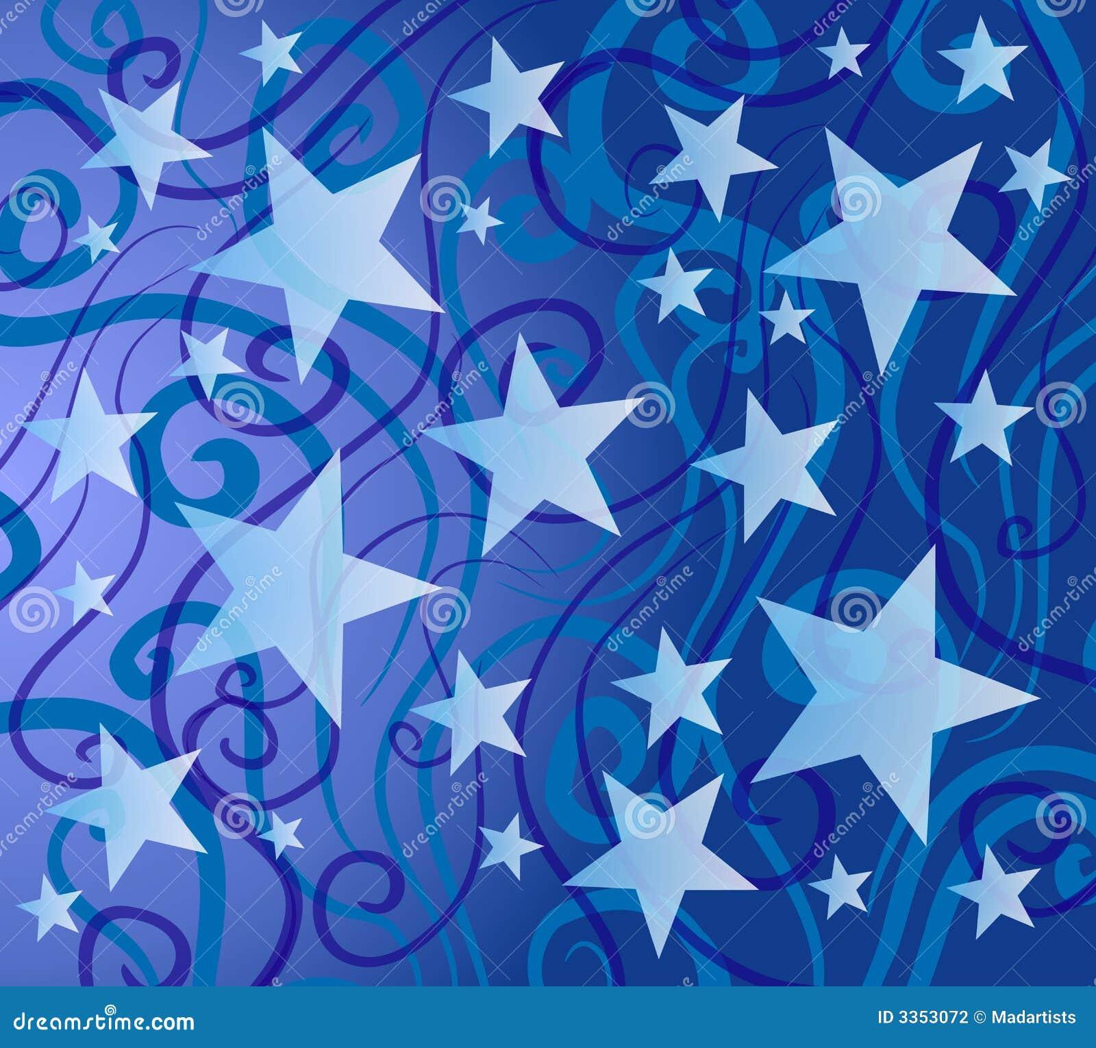Teste padrão de estrelas colorido azul