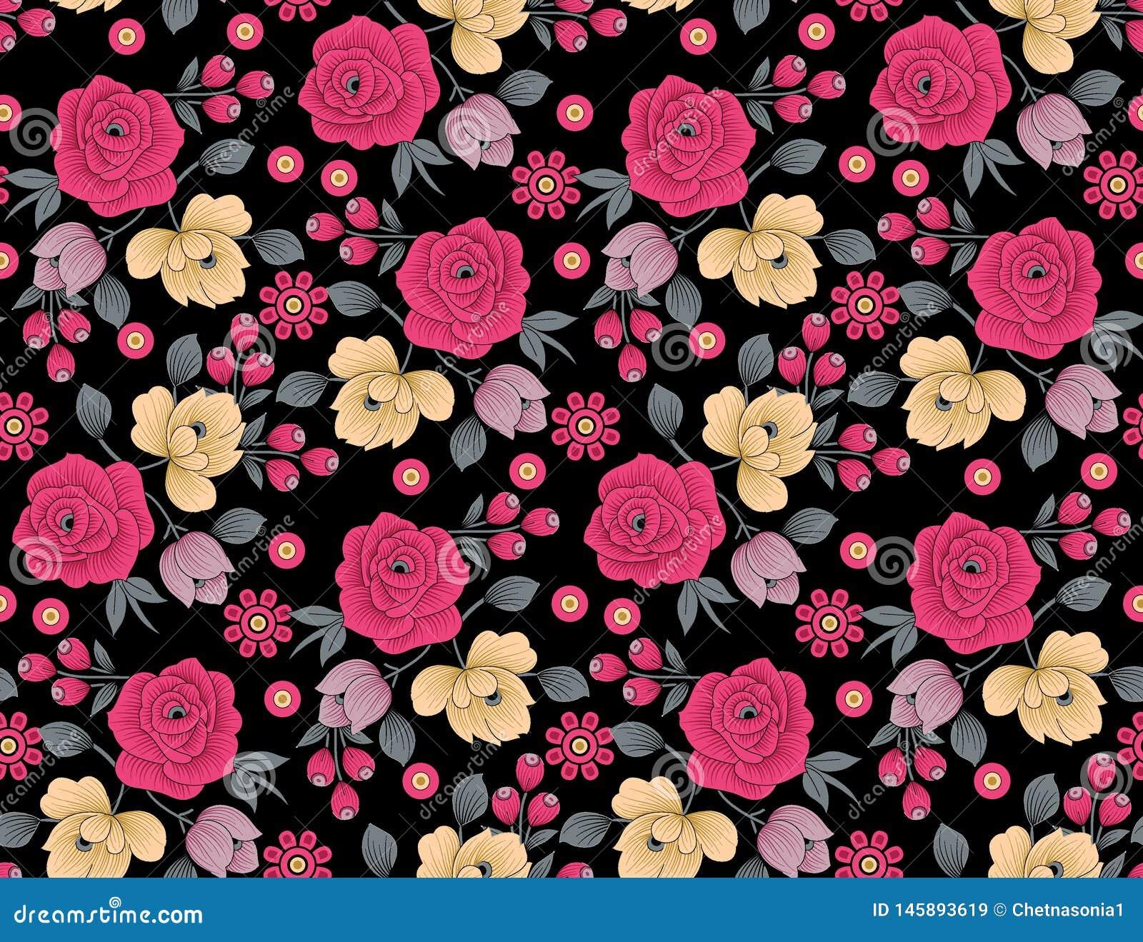 Teste padr?o de flor floral sem emenda com fundo preto