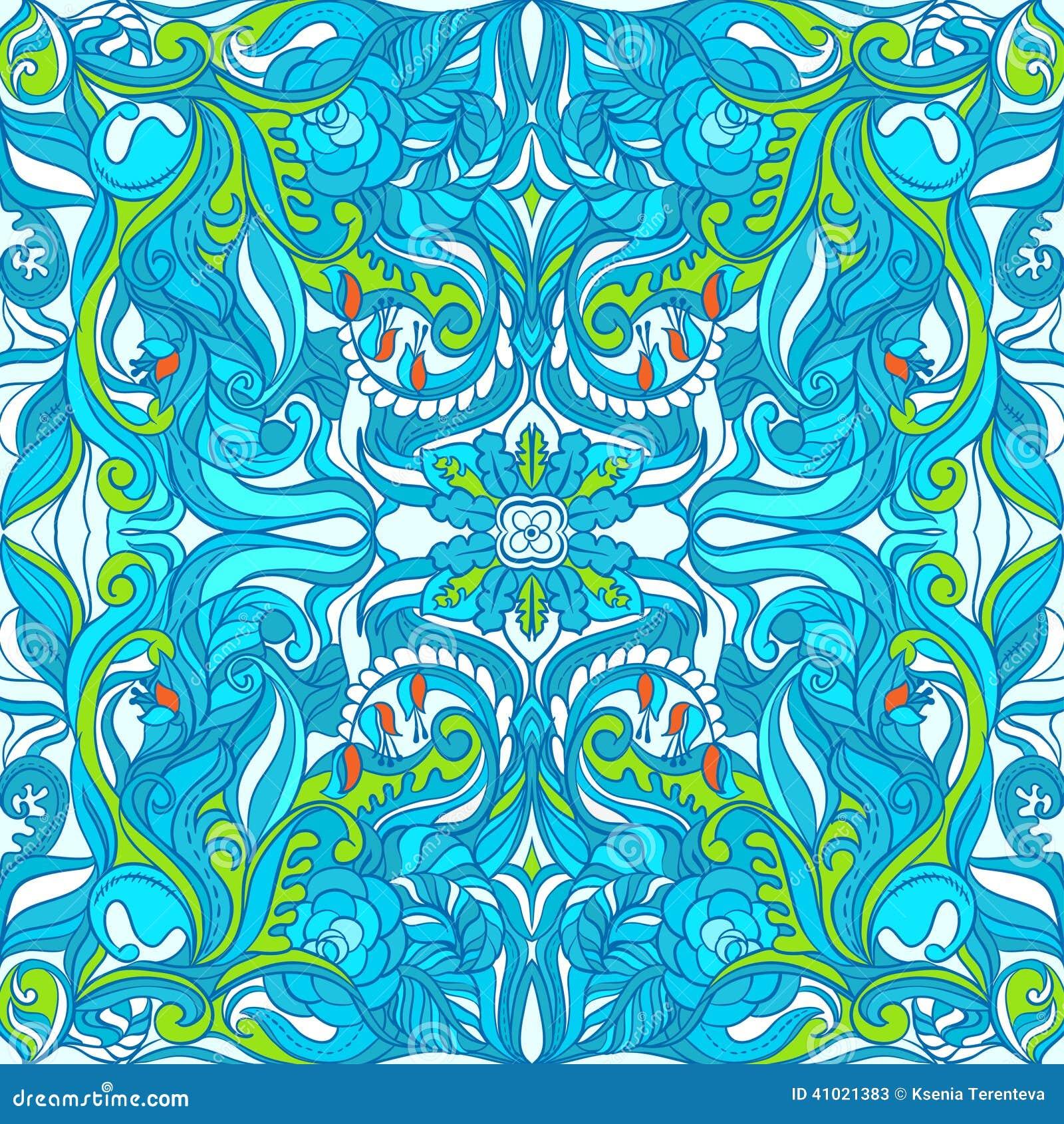 Teste padrão de Loral Vetora Colorful Ornate Seamless