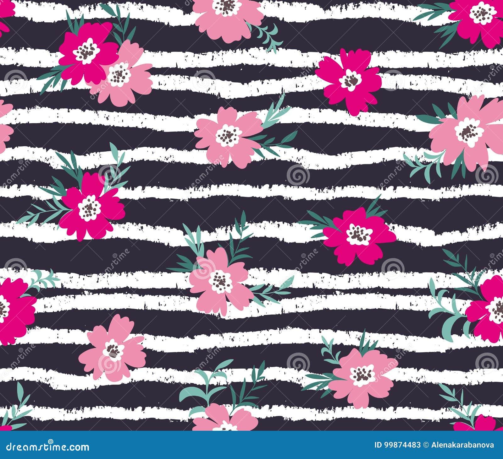 Teste padrão ditsy floral sem emenda na moda com listras do grunge Projeto da tela com flores simples