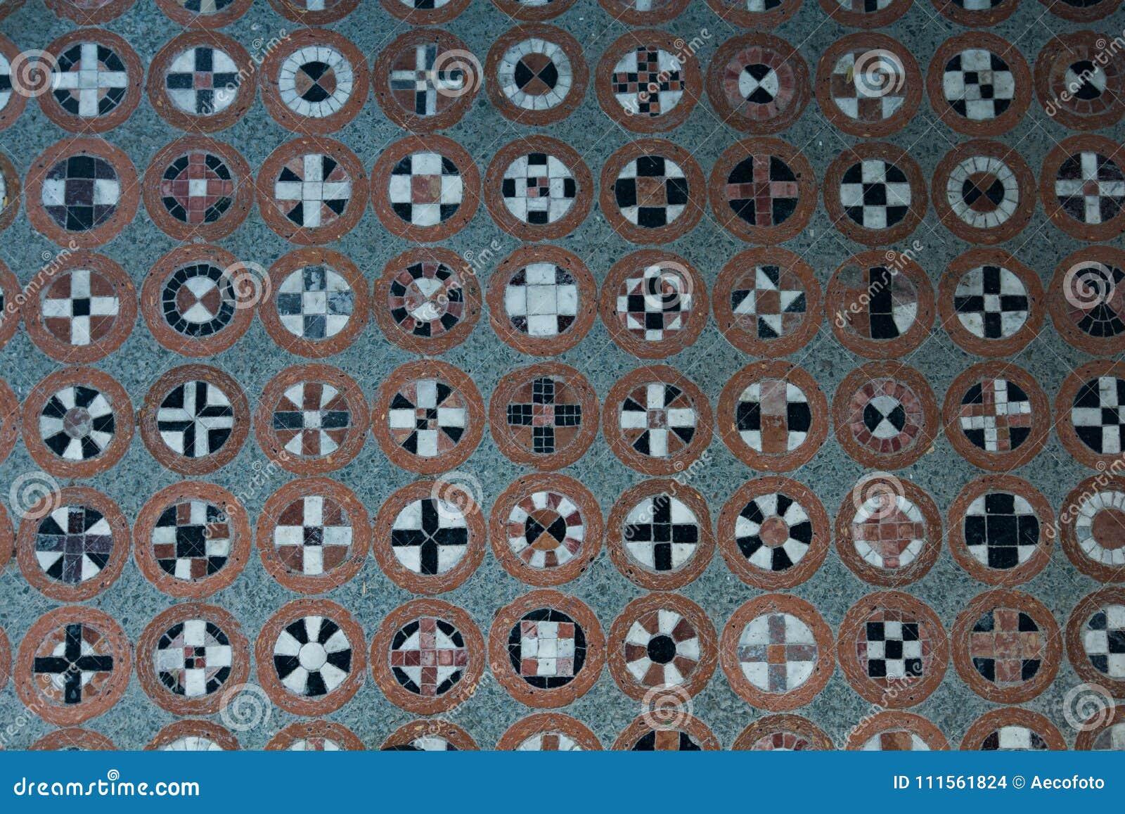 Teste padrão do assoalho com símbolos diferentes nos círculos