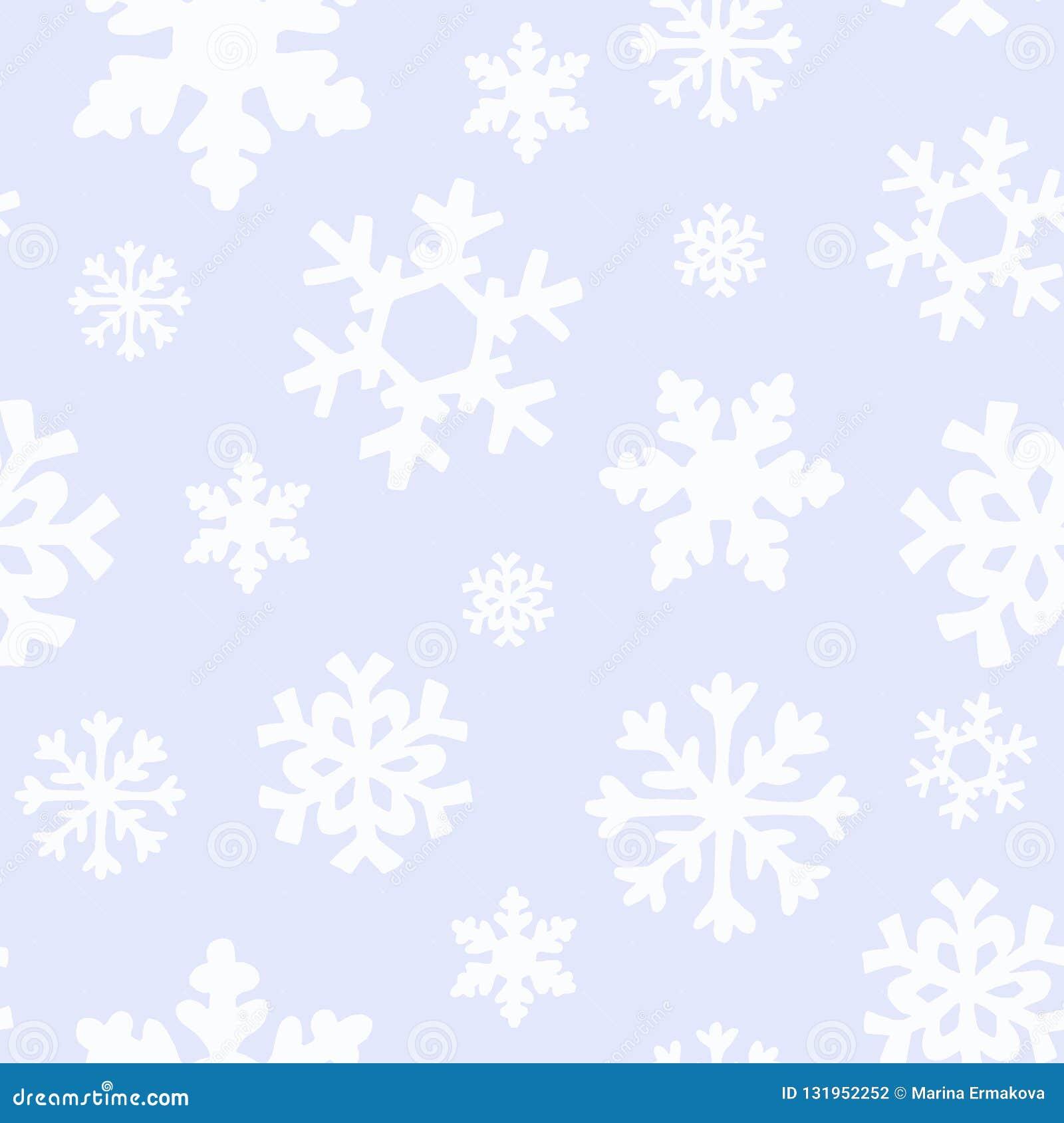 Teste padrão do Natal do inverno com as silhuetas brancas e de prata dos flocos de neve, bagas, folhas, ramos, boneco de neve, ár