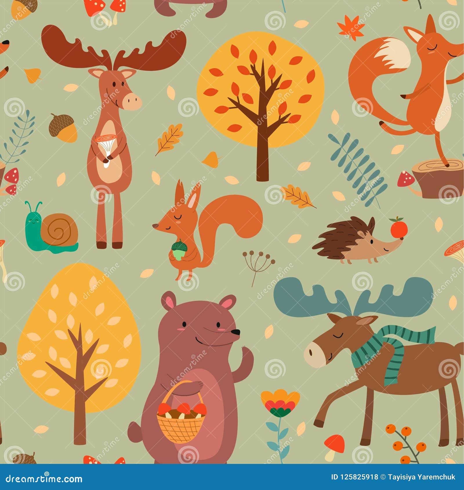 Teste padrão do outono com mão bonito os animais tirados da floresta e elementos florais da queda Textura sem emenda do vetor