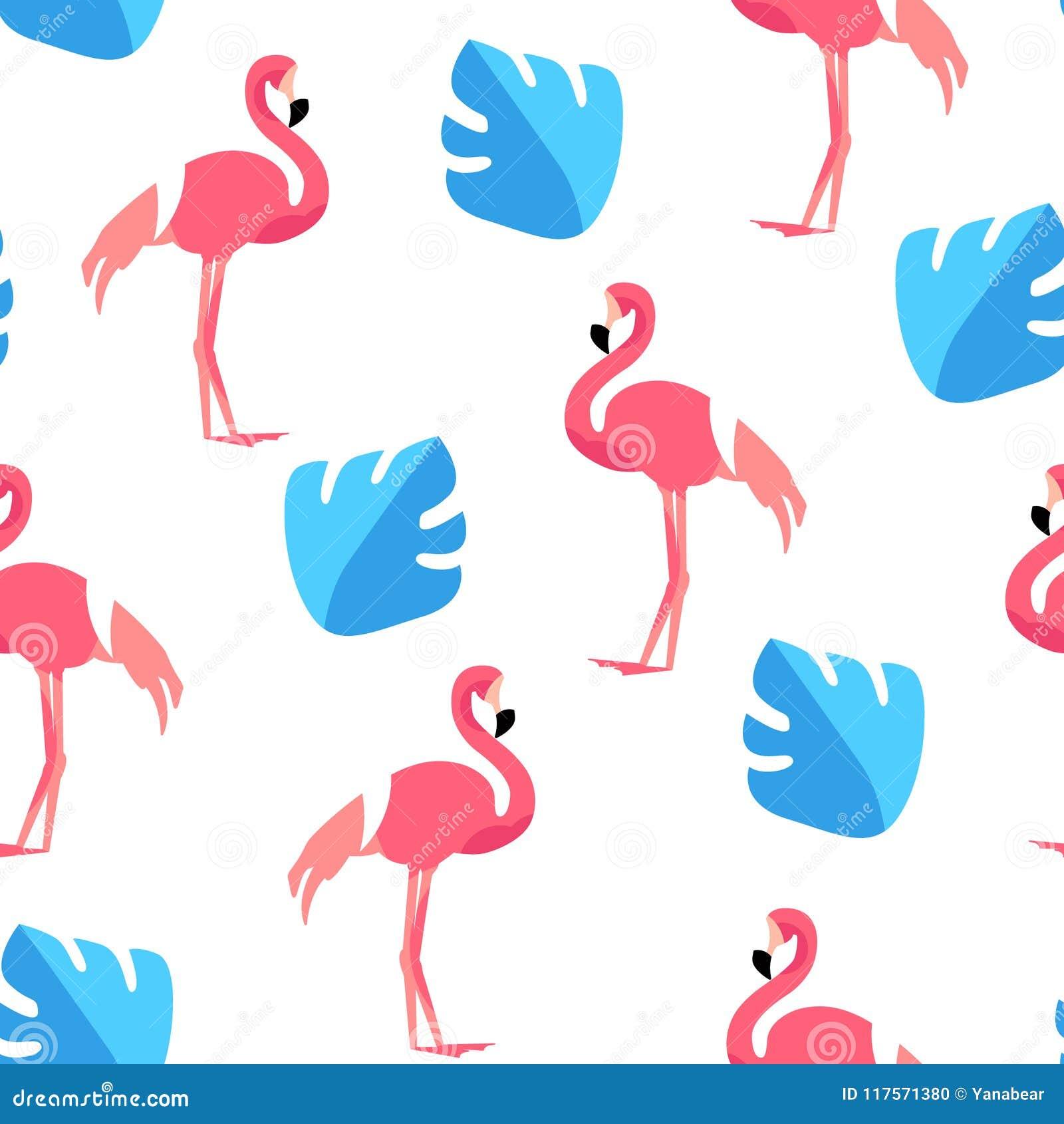 Teste padrão do verão com flamingo bonito e folhas de palmeira no fundo branco Ornamento para a matéria têxtil e o envolvimento V