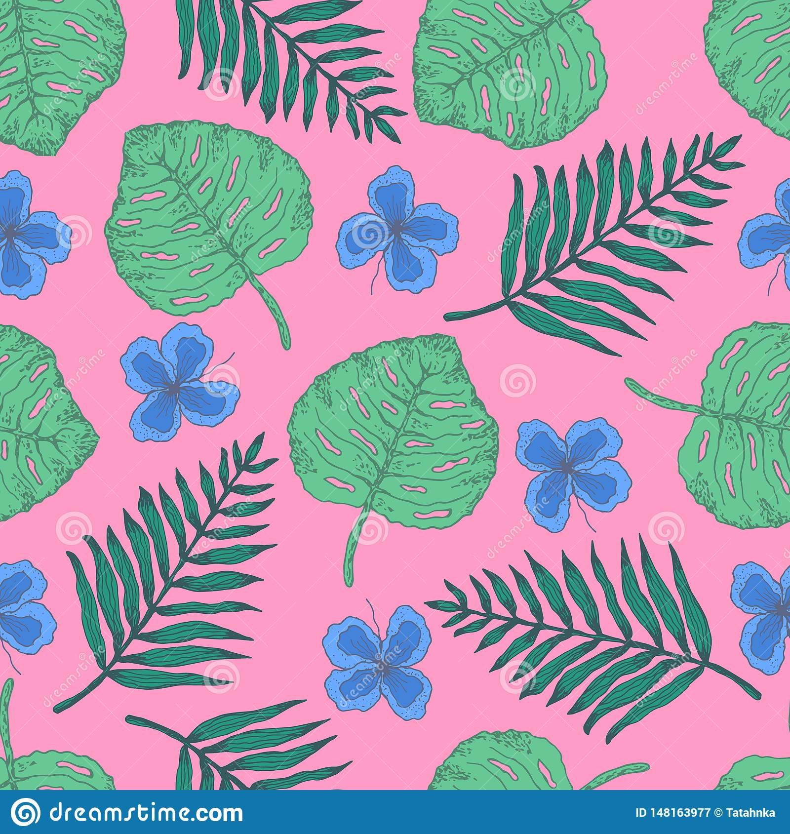 Teste padrão do verão com folhas e as flores tropicais