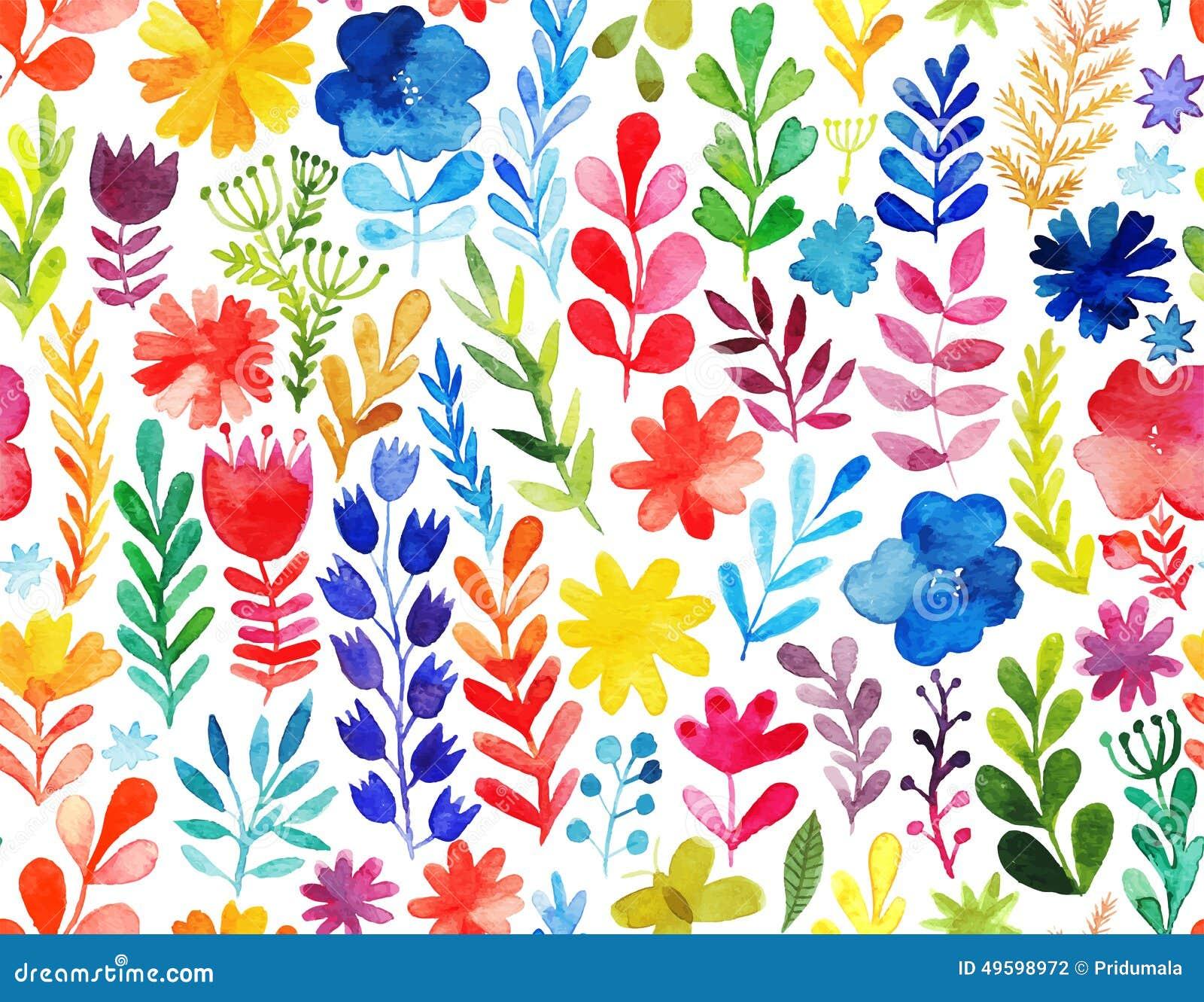 Teste padrão do vetor com flores e plantas Decoração floral Fundo sem emenda floral original