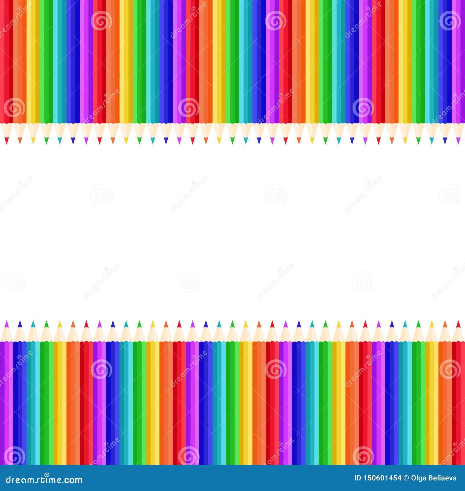 Teste padrão do vetor de lápis coloridos no fundo branco