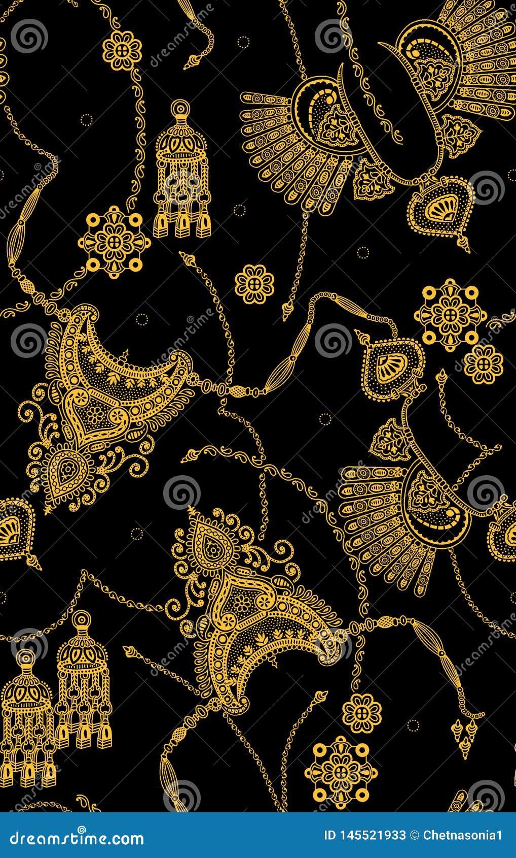 Teste padrão dourado sem emenda na cor preta