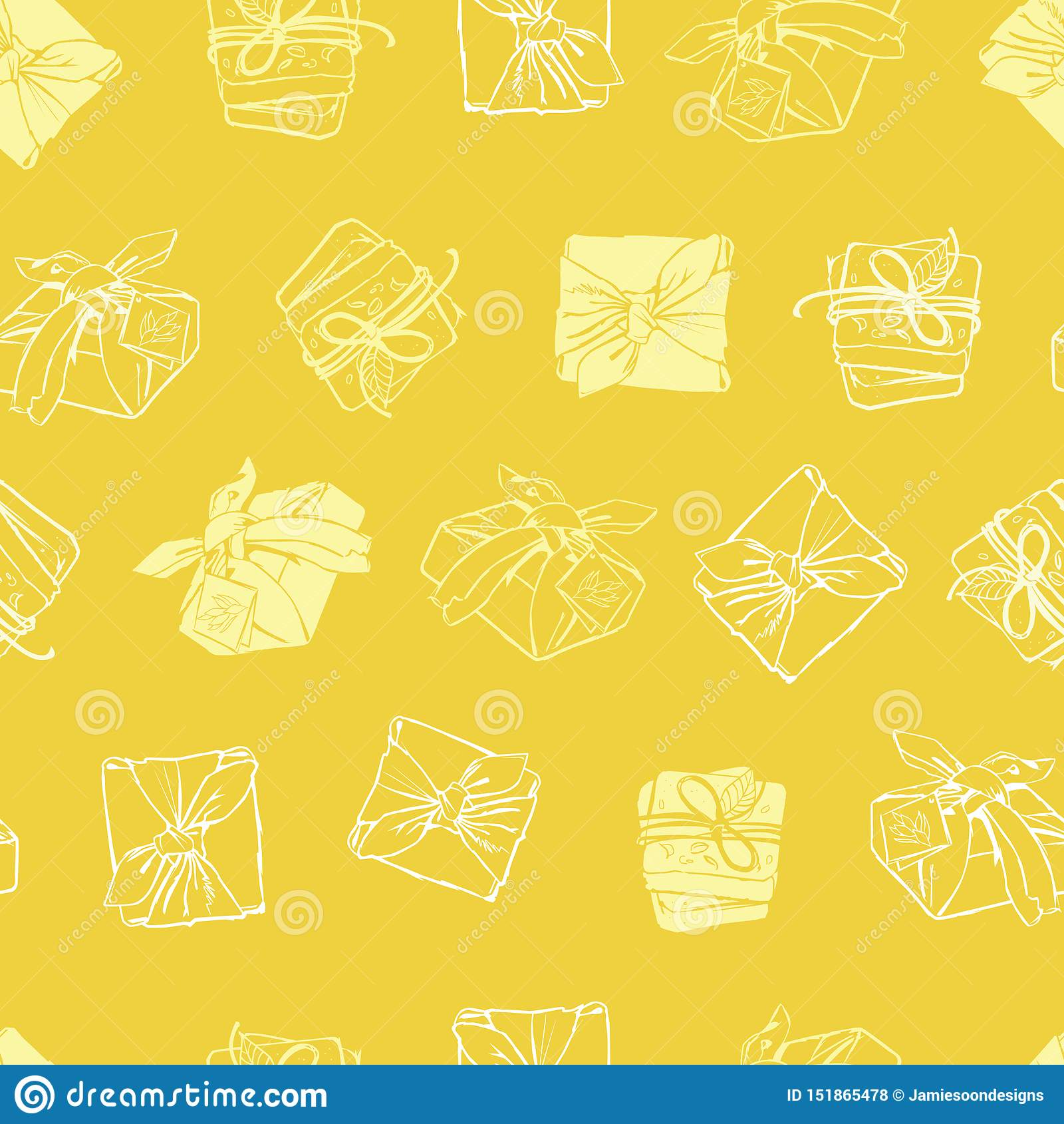 Teste padrão envolvido amarelo da repetição da textura dos pacotes do vetor Apropriado para o papel de embrulho, a matéria têxtil